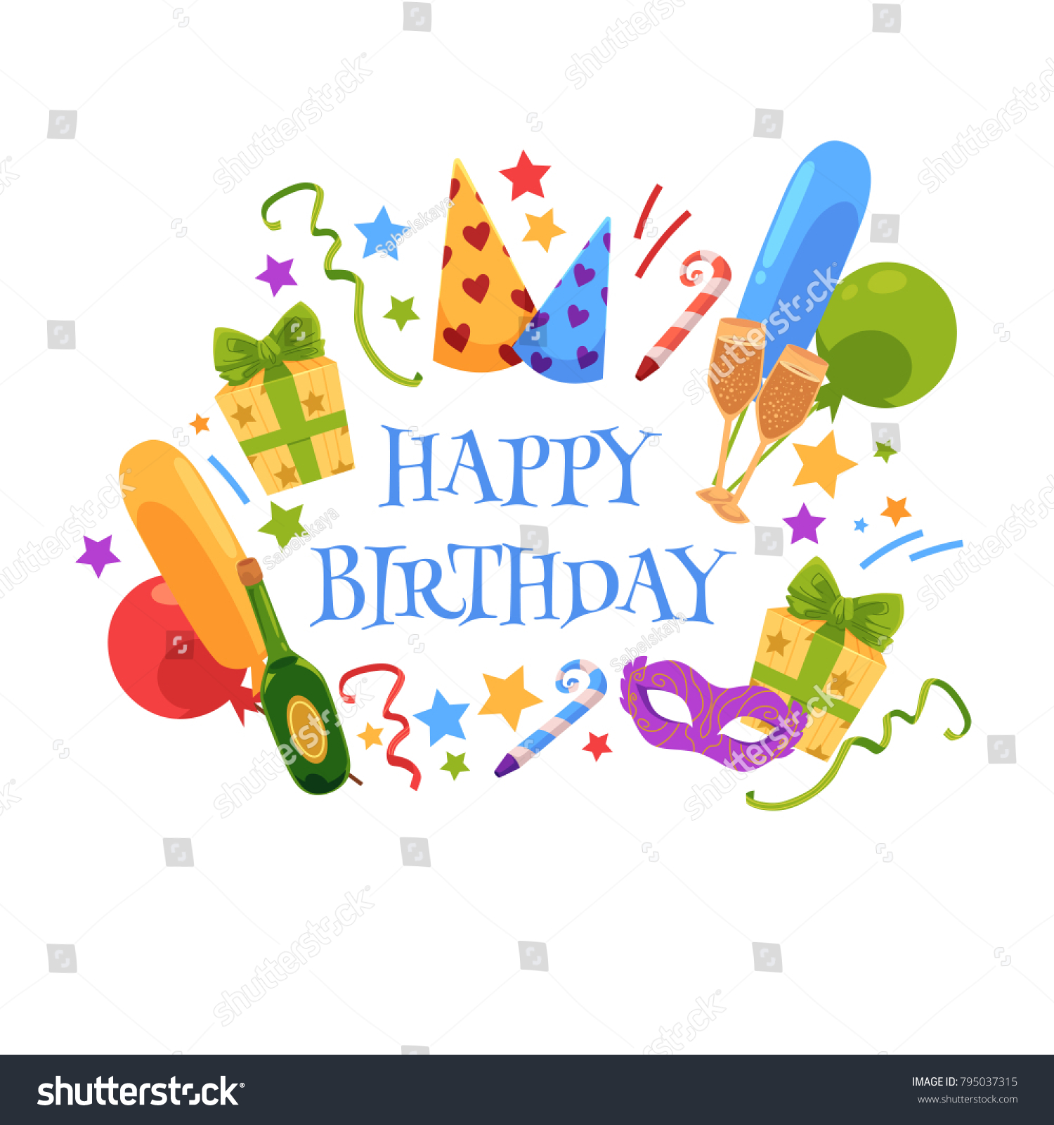 Happy Birthday Greeting Card Design Party Stock Vector Royalty Free