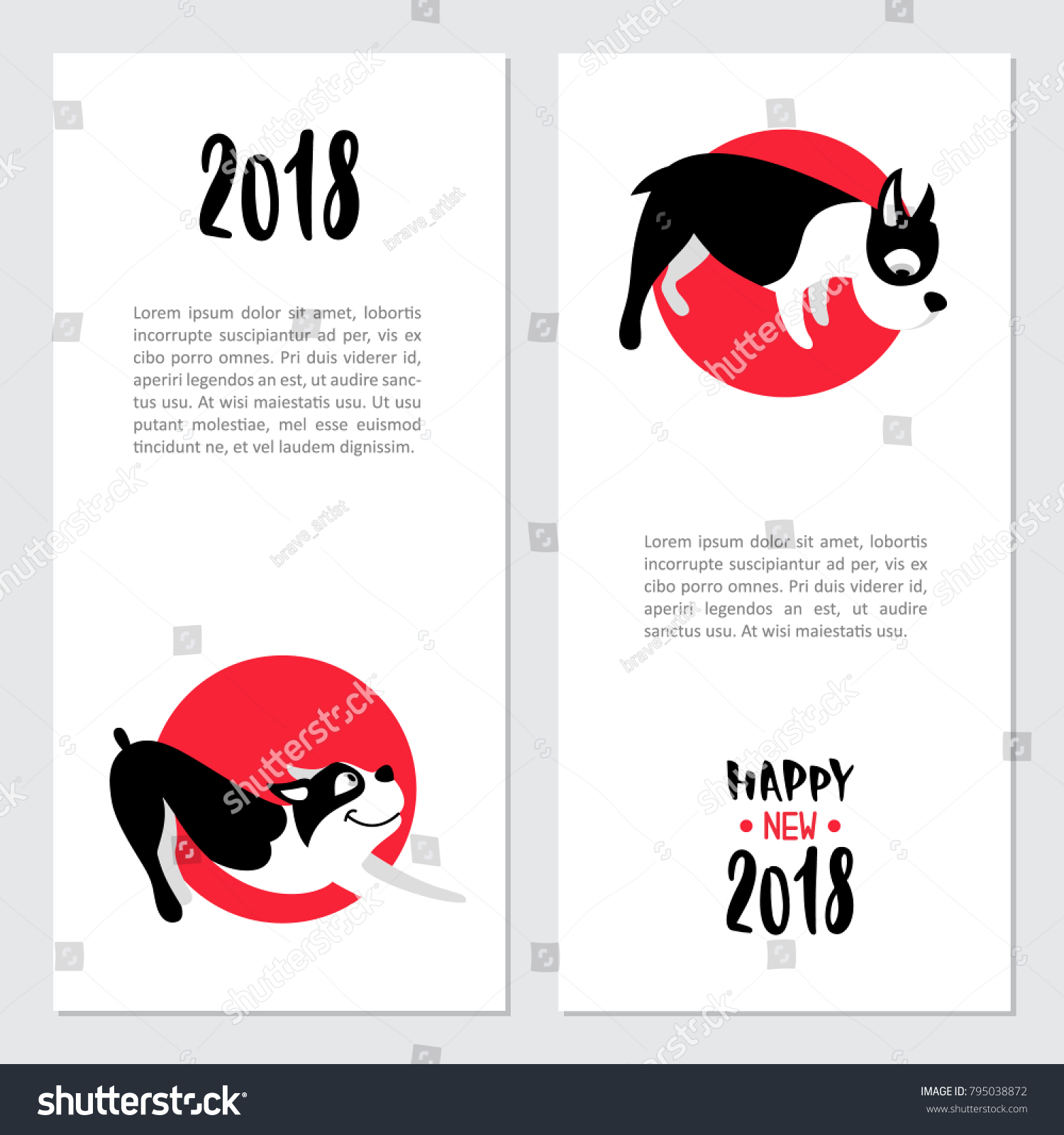 Set Cards Chinese New Year Symbol Stock Vector Royalty Free