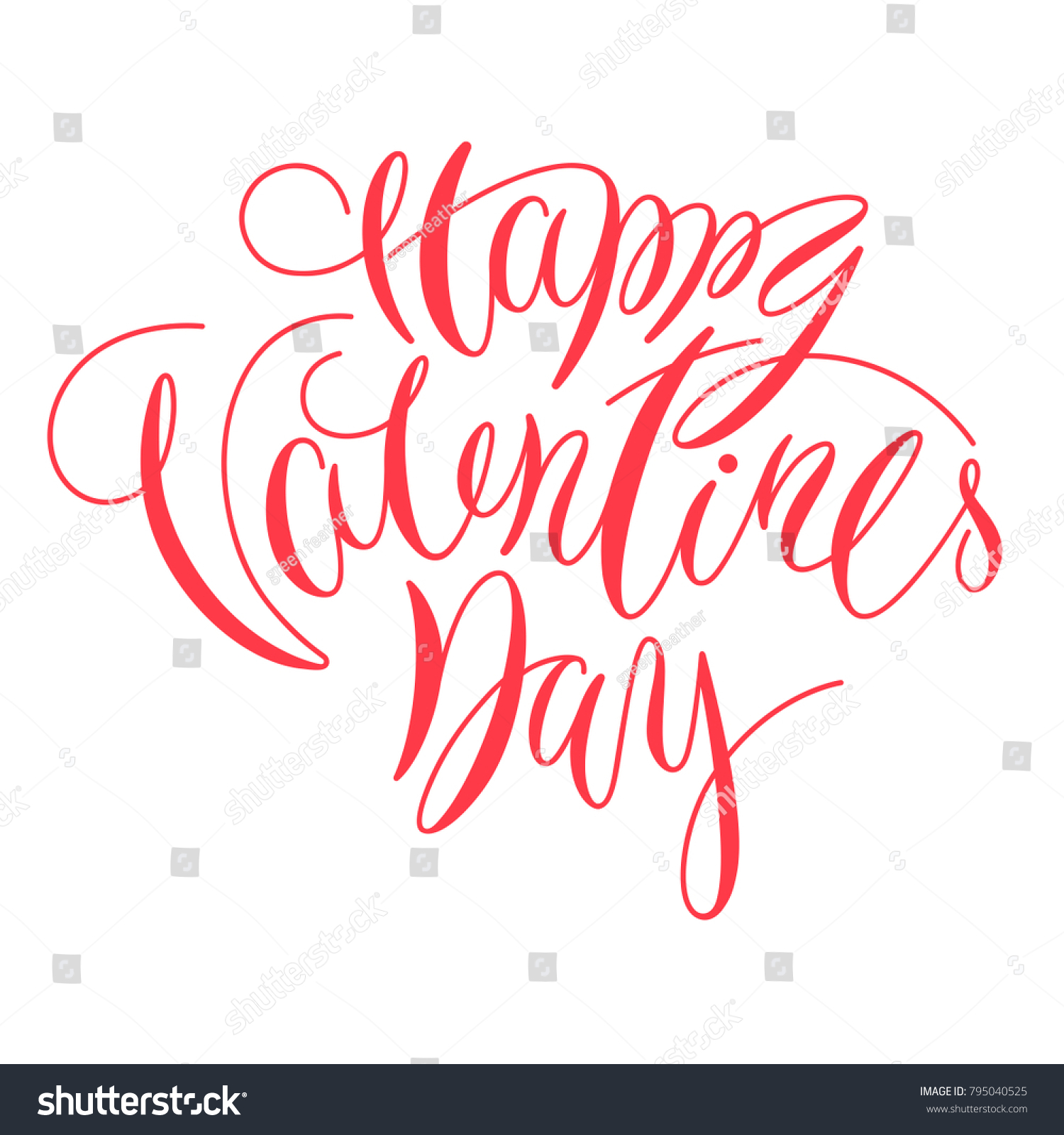 Happy Valentine Day Lettering Calligraphy Artwork Stock Vector