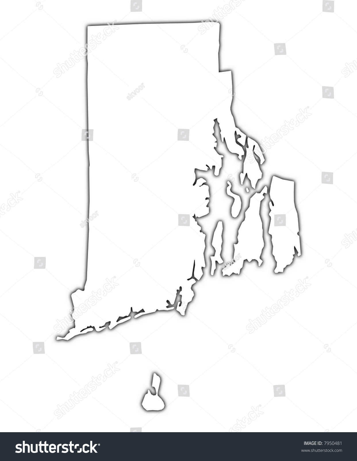 Rhode Island Usa Outline Map With Shadow Detailed Mercator Projection