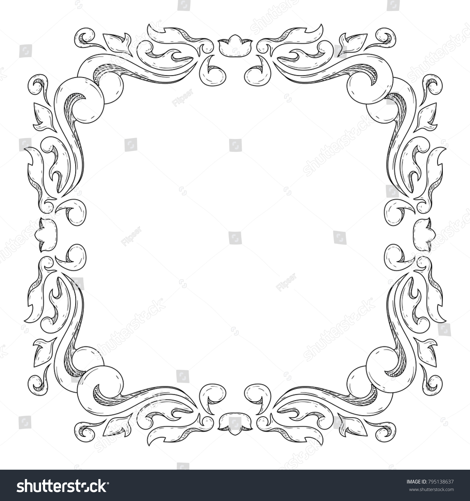 Floral vintage frame. White decorative ornament isolated on white ...