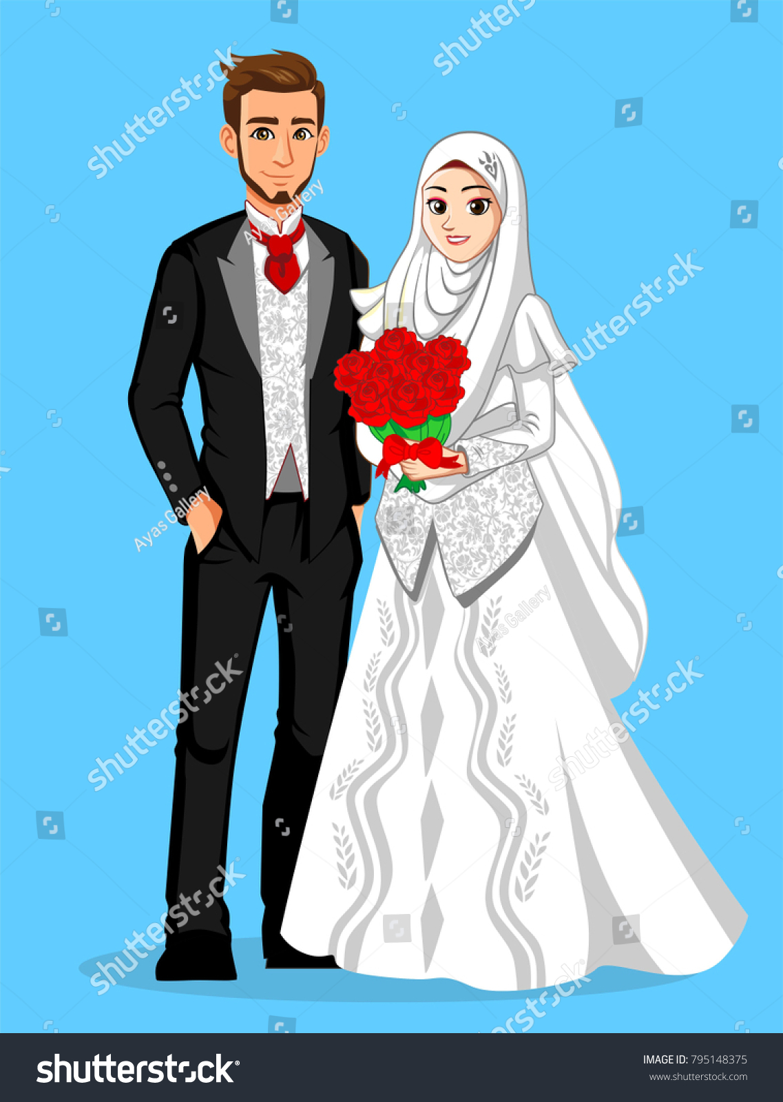 Black White Muslim Wedding Couple Stock Vector 795148375 - Shutterstock