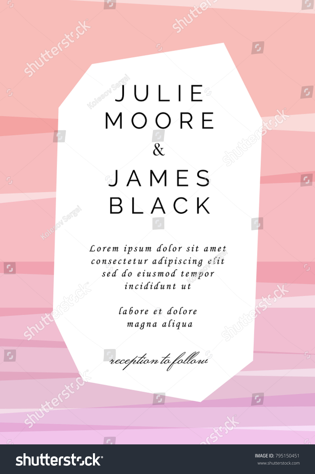 Colorful Wedding Invitation Template Overlay Colors Stock Vector ...