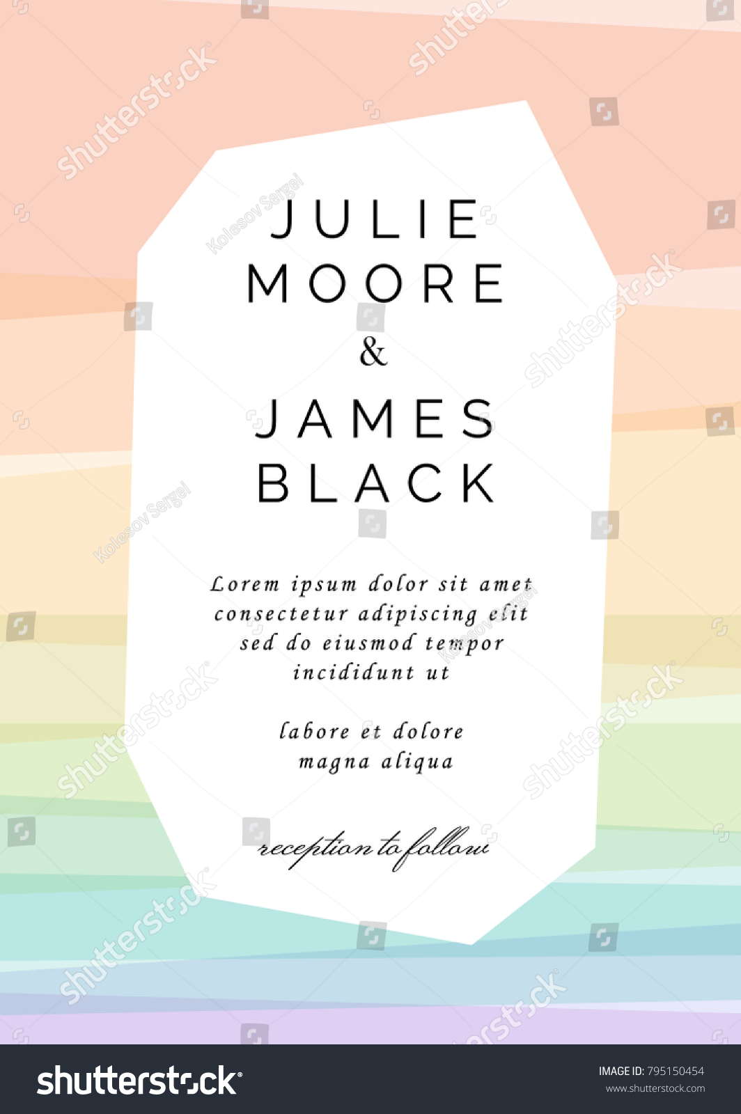 Colorful Wedding Invitation Template Overlay Rainbow Stock Vector ...