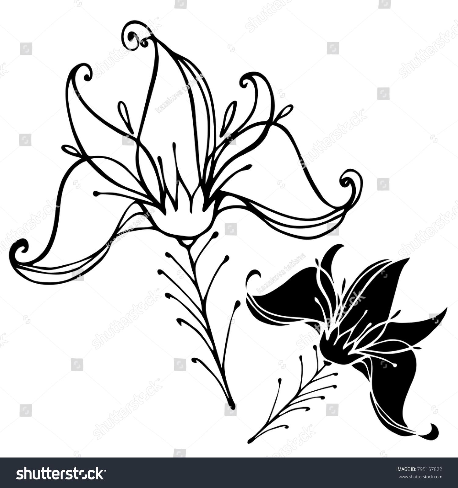 Vector Design Decorative Flowers Black White Stock Vector Royalty