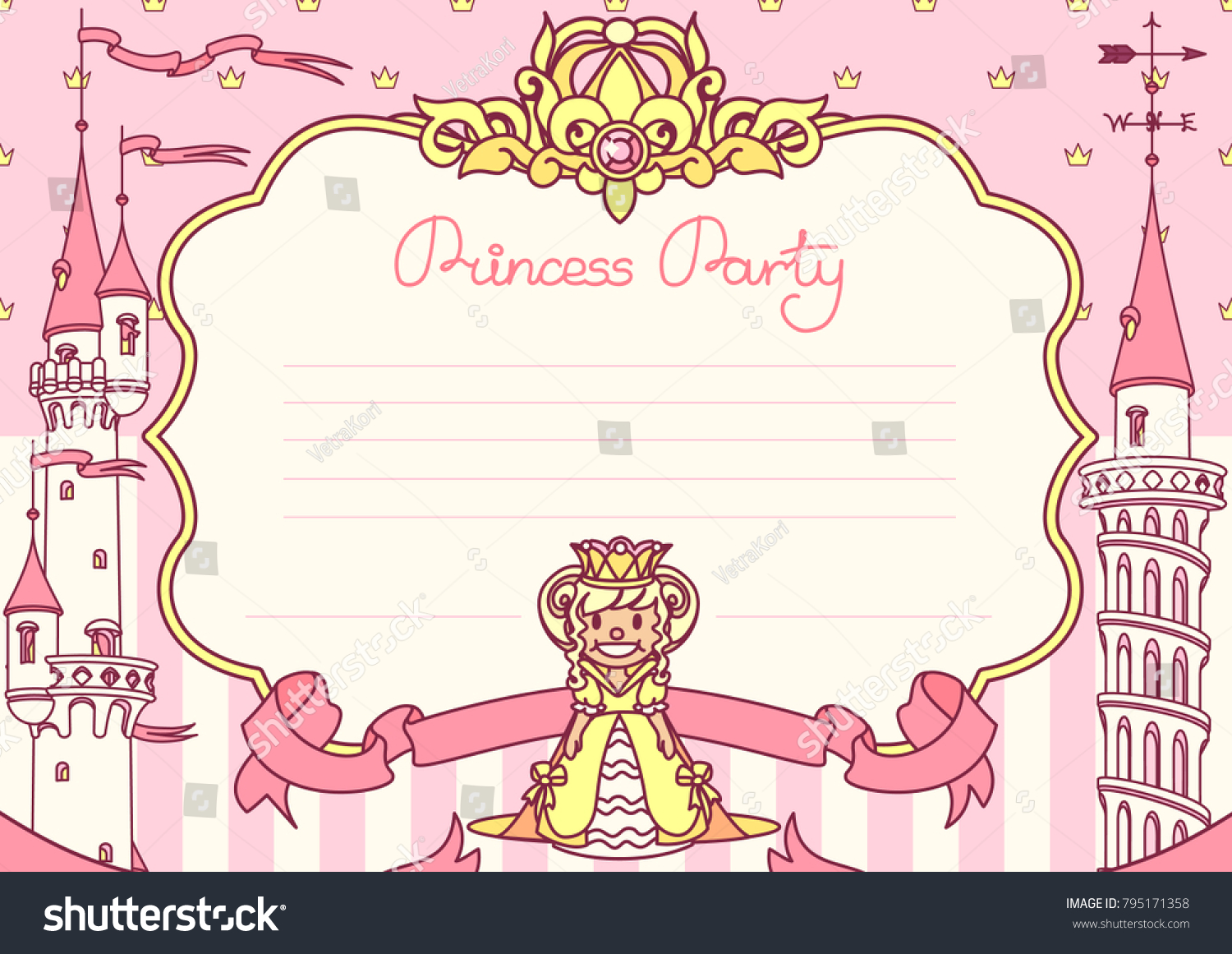 Vector Princess Party Invitation Template Festive Stock Vector HD ...