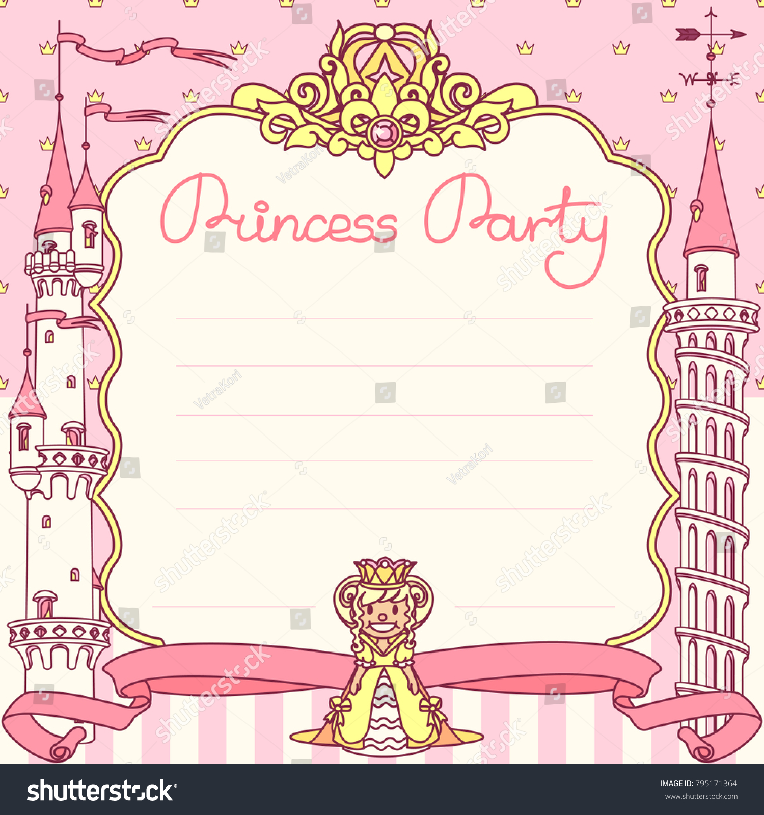 Vector Princess Party Invitation Template Festive Stock Photo (Photo ...