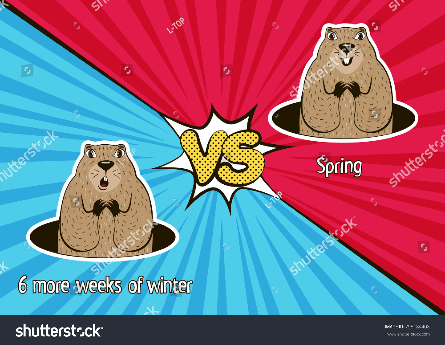 Groundhog Day Card Winter Vs Spring Stock Vector Royalty Free