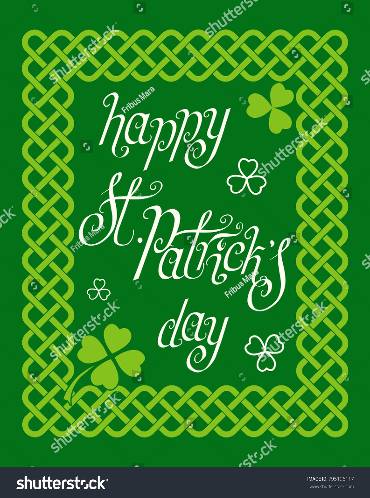 Hand Written Green St Patricks Day Stock Vector Royalty Free