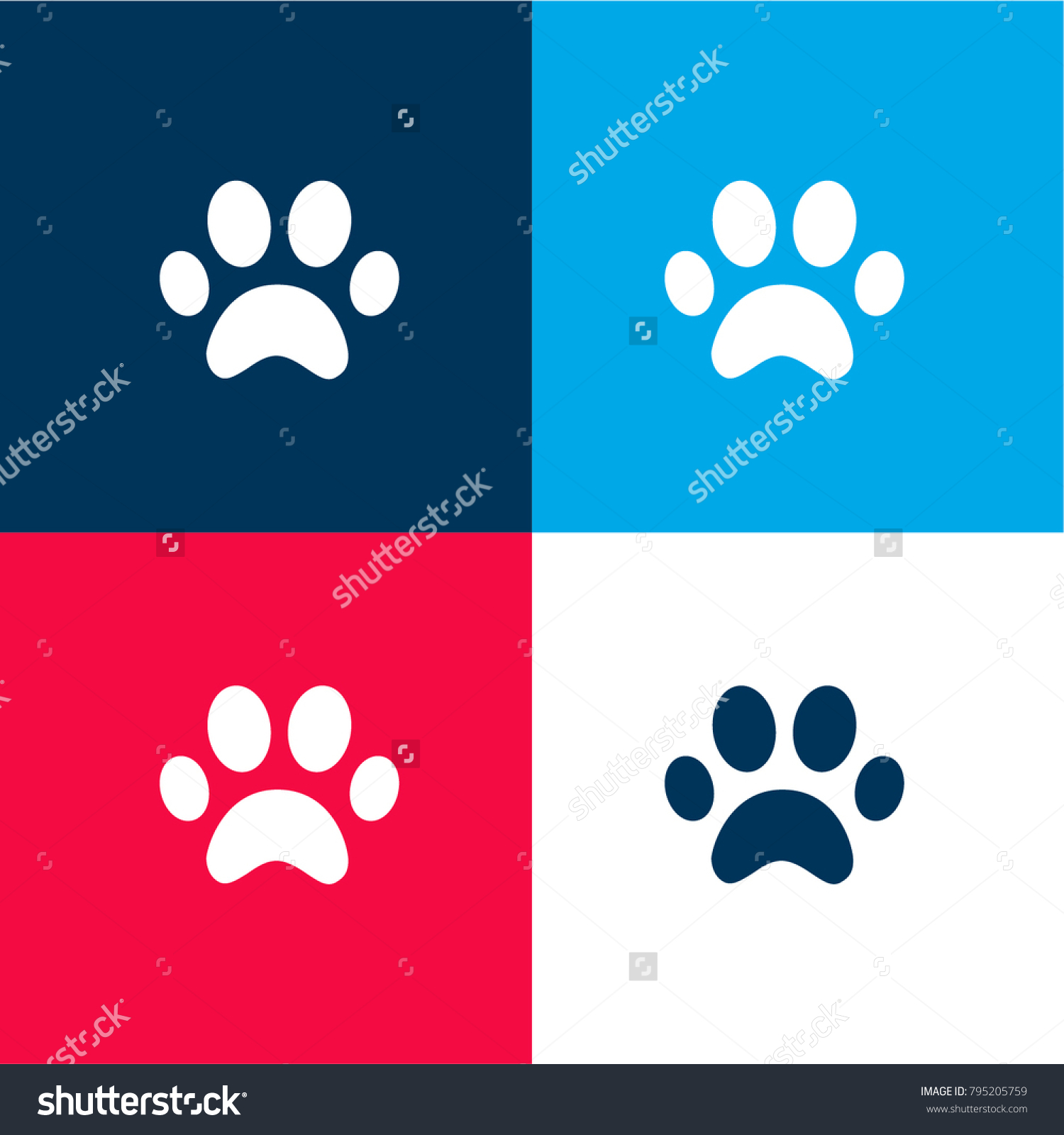 Cat Paw Print Vector Icon Effect Of Folded Paper Colored Red Blue Green Illustrations Flat Design