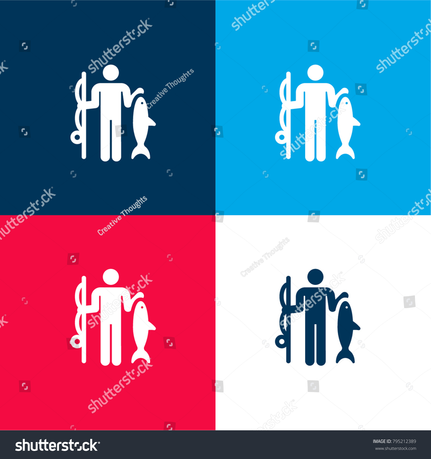 Fishing Four Color Material Minimal Icon Stock Photo (Photo, Vector ...