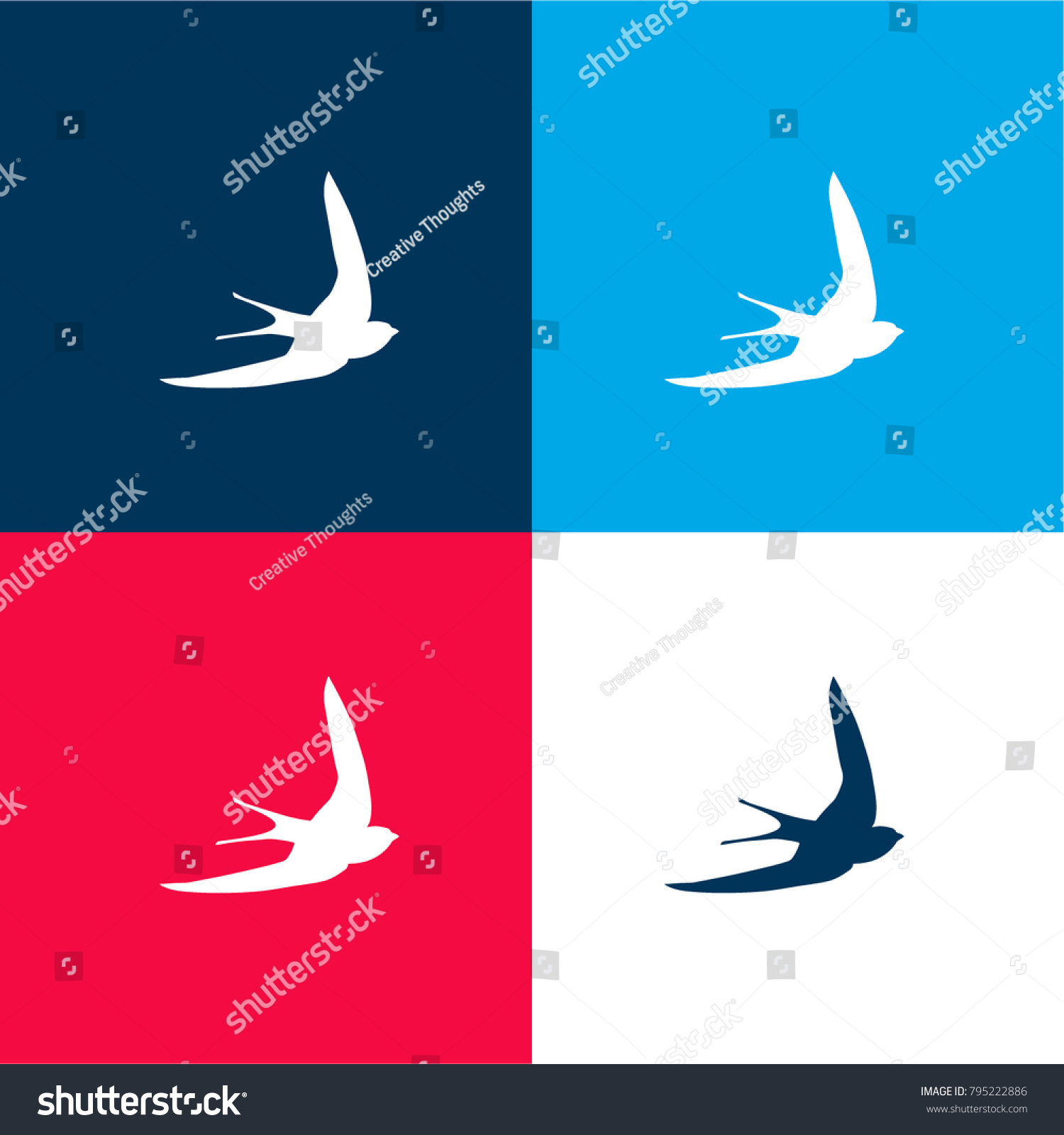 Swift Bird Shape Four Color Material Stock Vector 795222886 ...