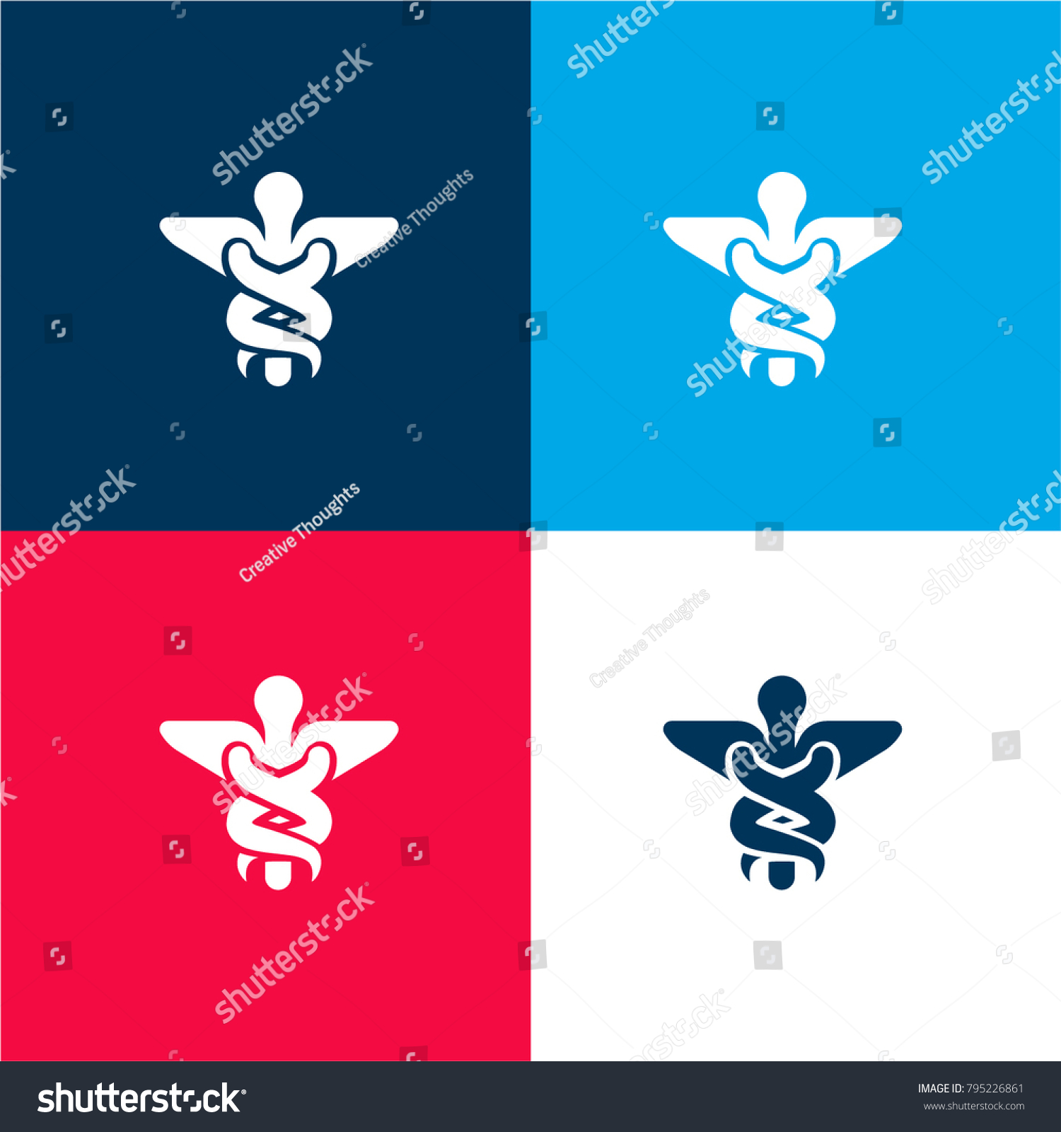 Caduceus medical symbol two ascending serpents stock vector caduceus medical symbol of two ascending serpents on a cane with wings four color material and buycottarizona Image collections