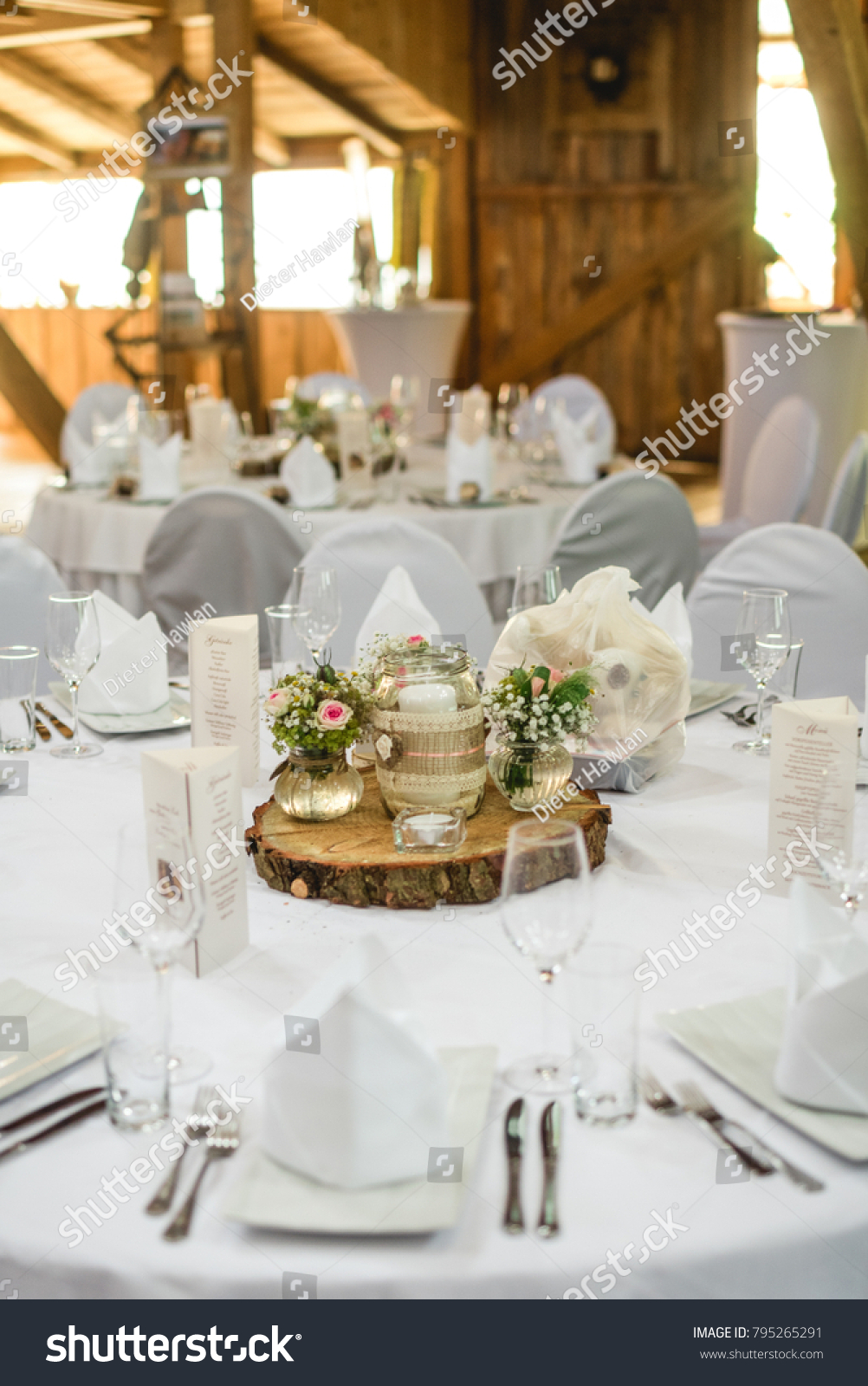 White Wedding Table Flowers Stock Photo Royalty Free 795265291
