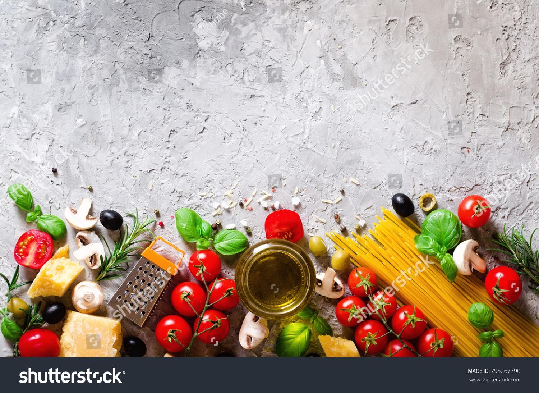 Food Ingredients Italian Pasta Spaghetti On Stock Photo (Edit Now ...