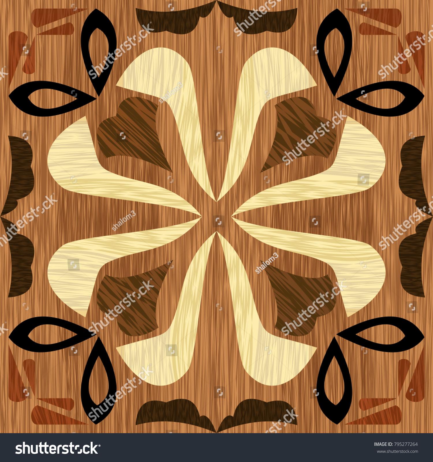 Wood Art Inlay Tile Geometric Ornament Stock Vector 795277264 ...