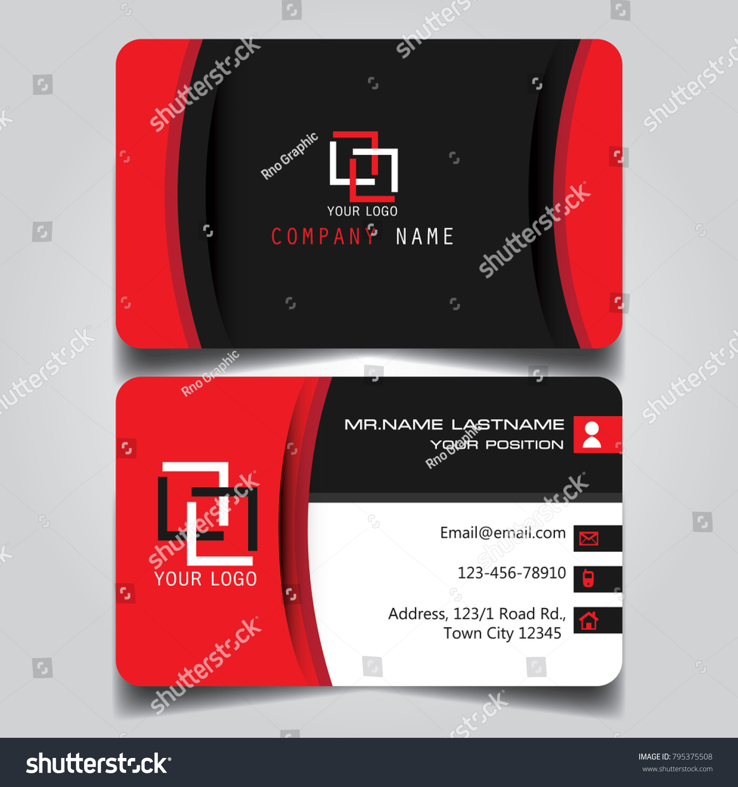 Red Black White Creative Modern Name Stock Vector 795375508 ...