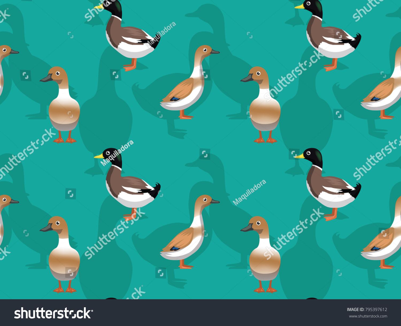 Duck Welsh Harlequin Cartoon Seamless Wallpaper