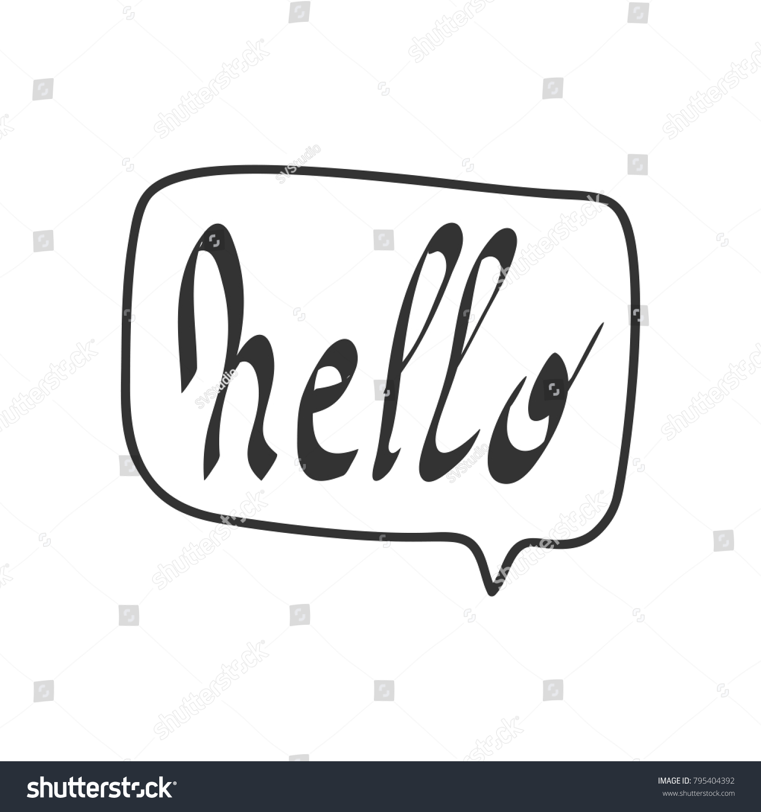 Hello Quote Message Bubble Calligraphic Simple Logo Introduction Style Black White Sign Lettering