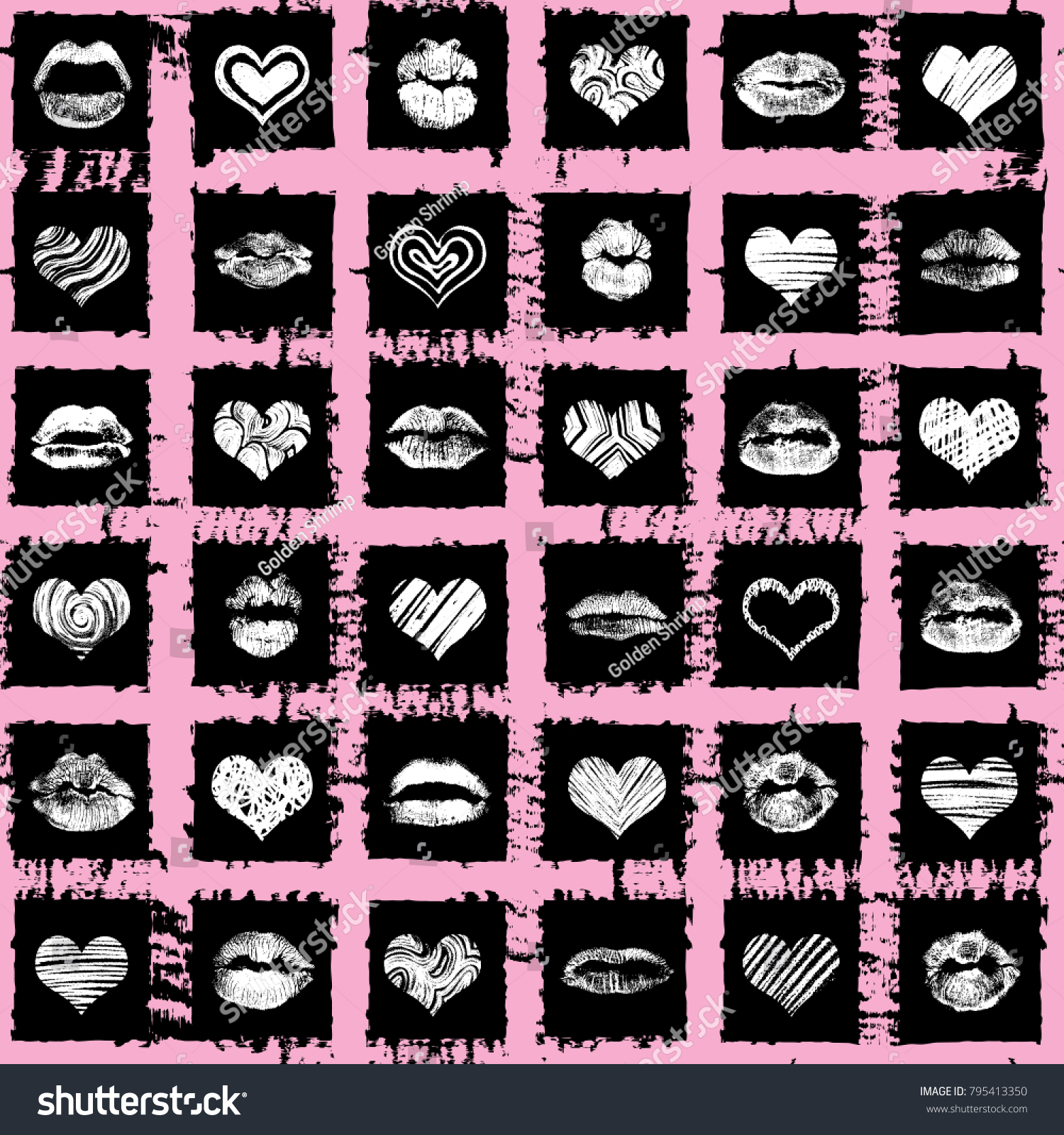 Seamless Background Red Pink Black Hearts Stock Vector (Royalty Free ...