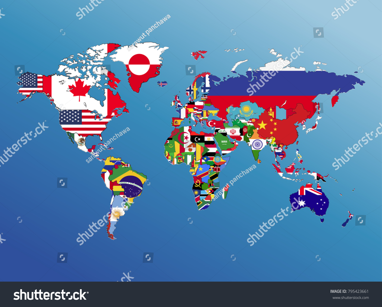 World Map Geography Nation Flag America Stock Illustration Royalty