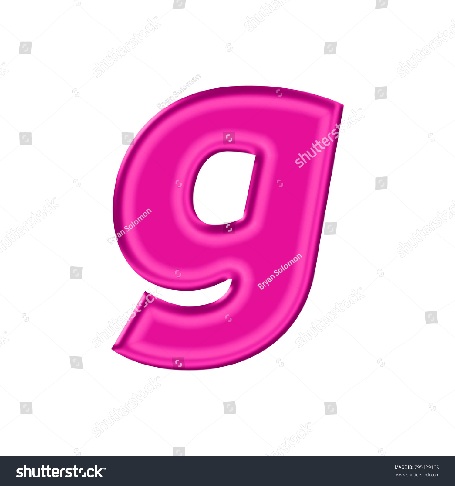 Shiny Plastic Pink Lowercase Small Letter Stock Illustration