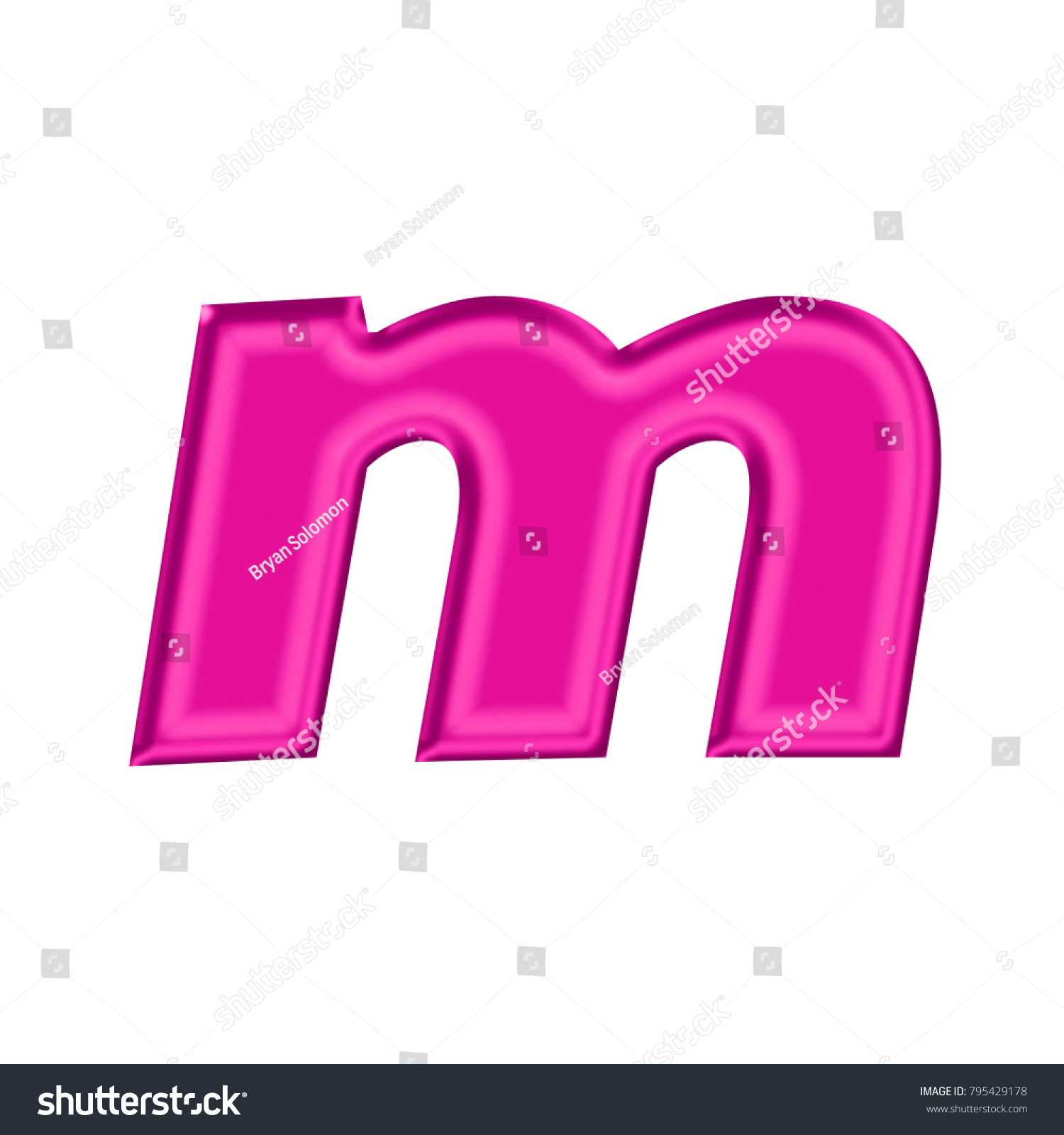 Pink metallic style lowercase or small letter M in a 3D illustration ...