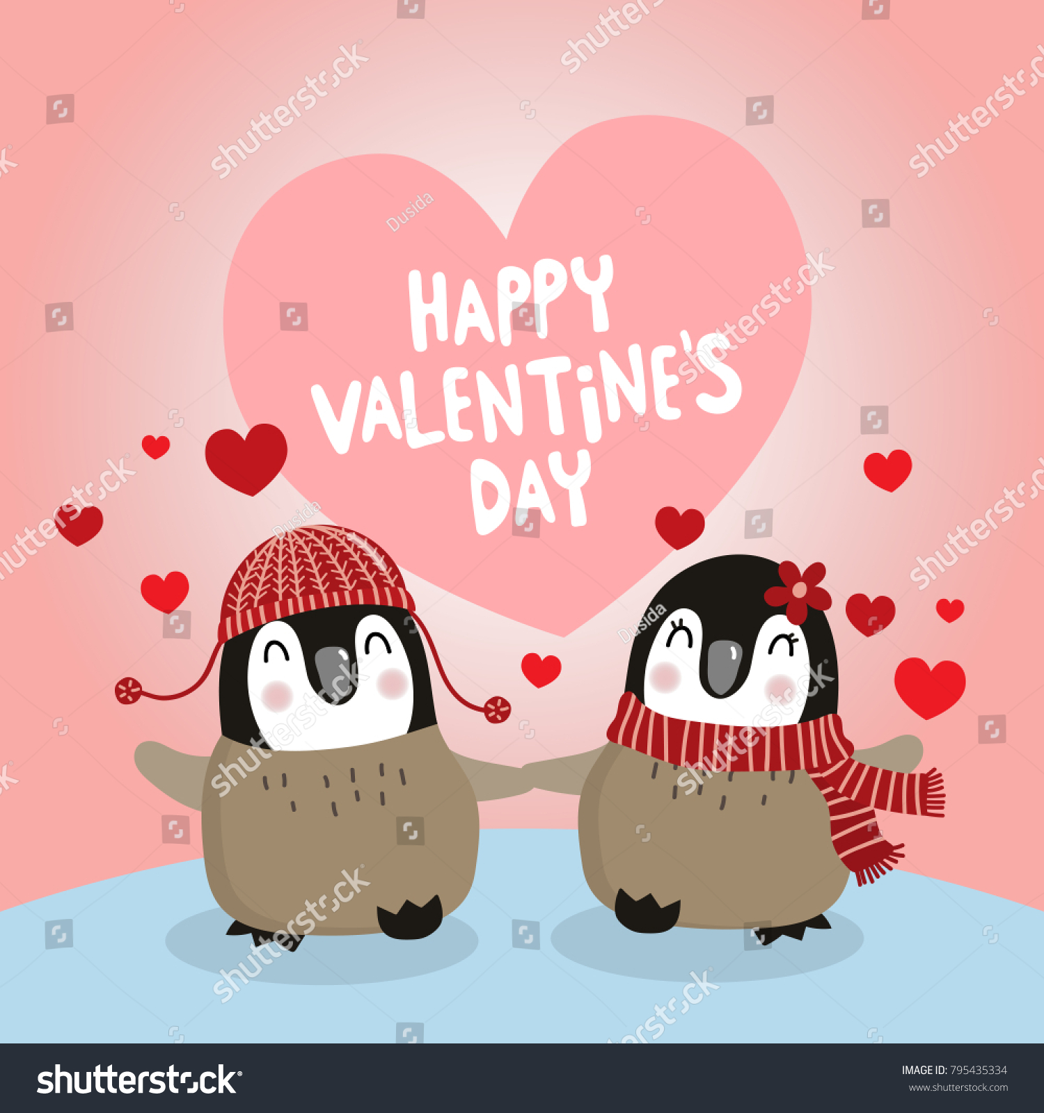 Happy valentines day greeting card cute stock vector 795435334 happy valentines day greeting card with cute penguin lover kristyandbryce Image collections