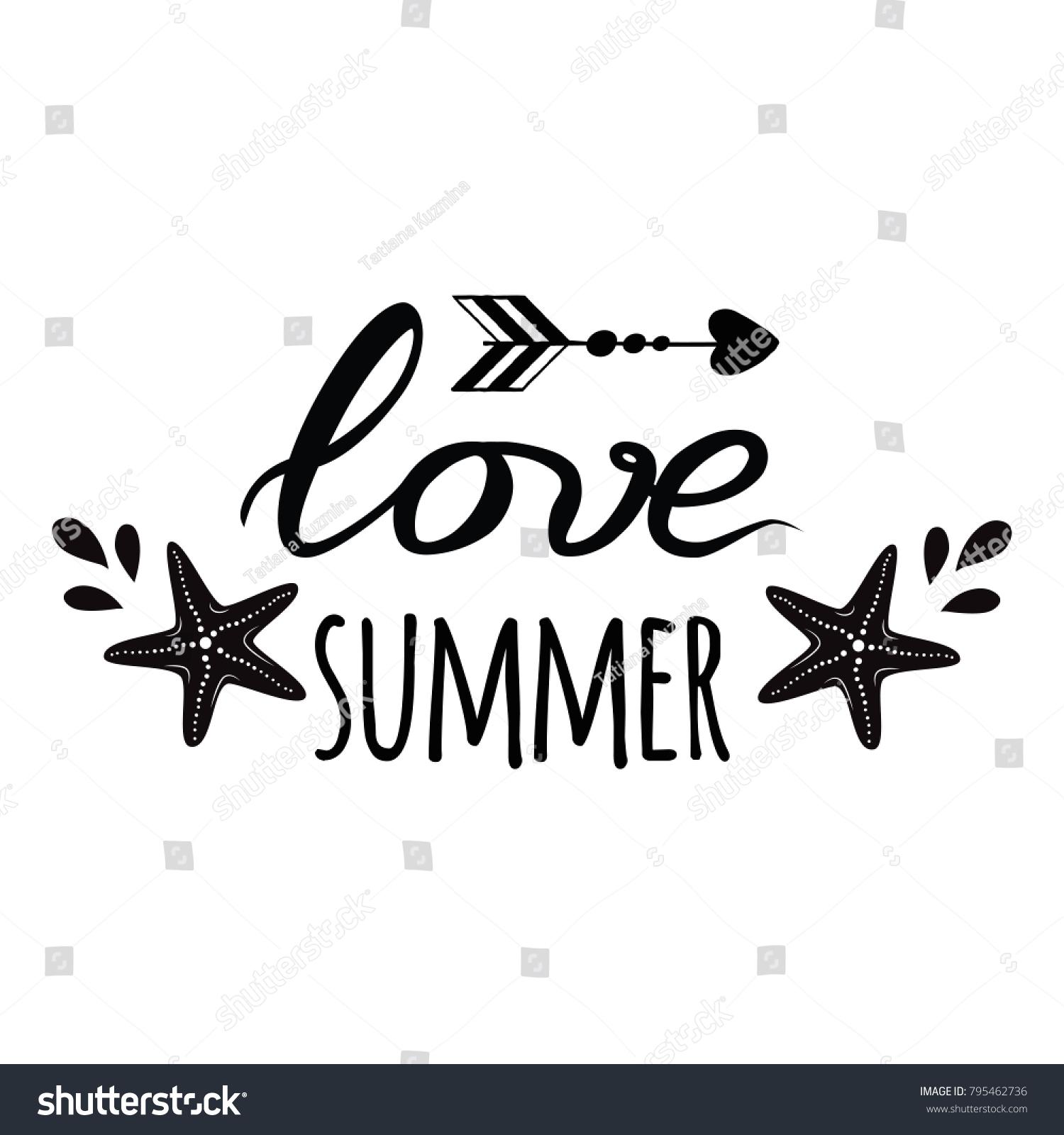 Sea Flyer Sea Star Love Summer Stock Vector Royalty Free 795462736