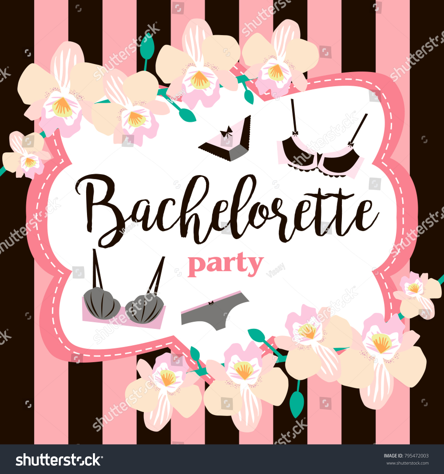 Lingerie Party Invitation Cards Beautiful Underwear Stock Vector