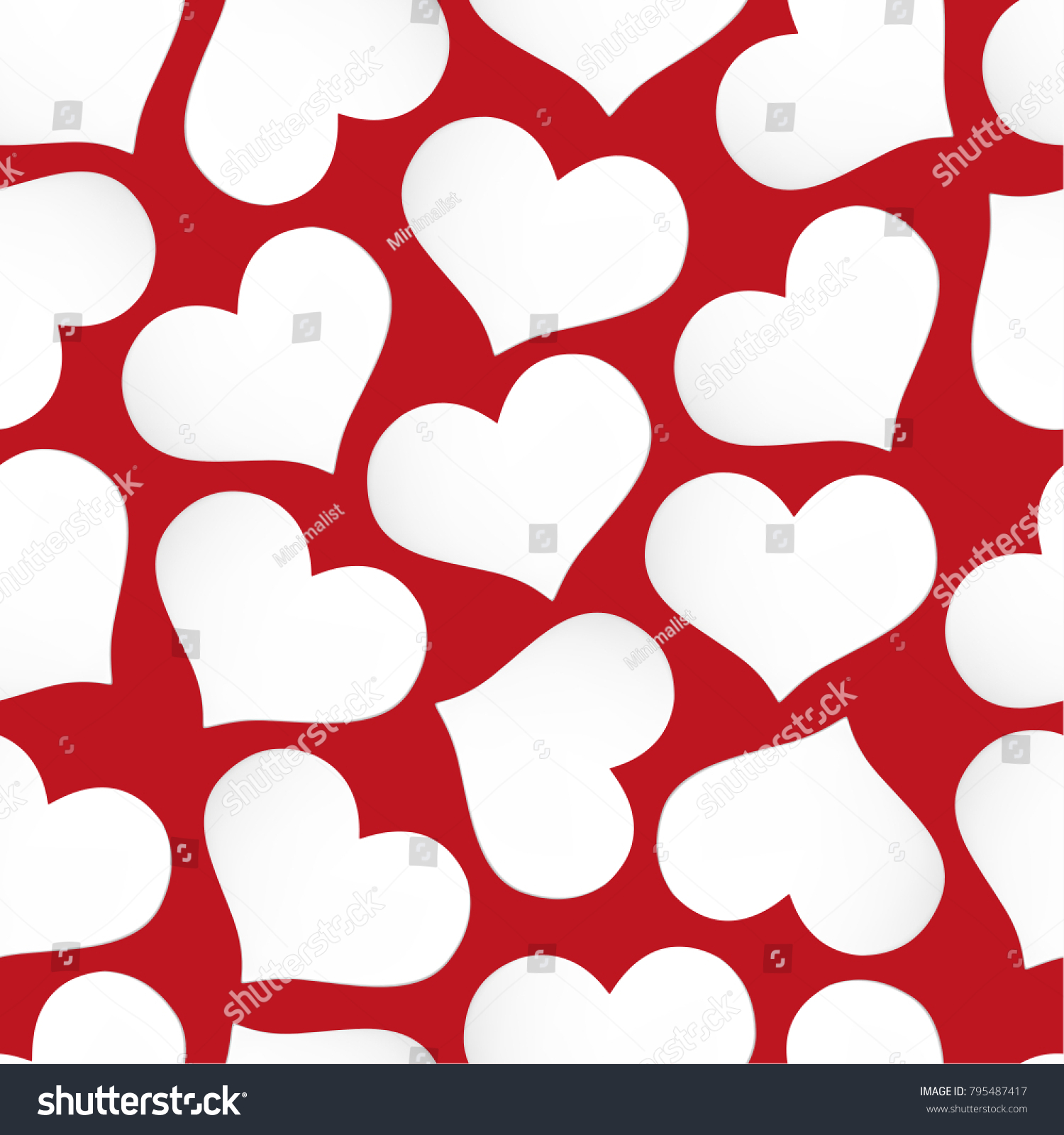 Paper Seamless Pattern Post Heart Shape Stock Vector Royalty Free
