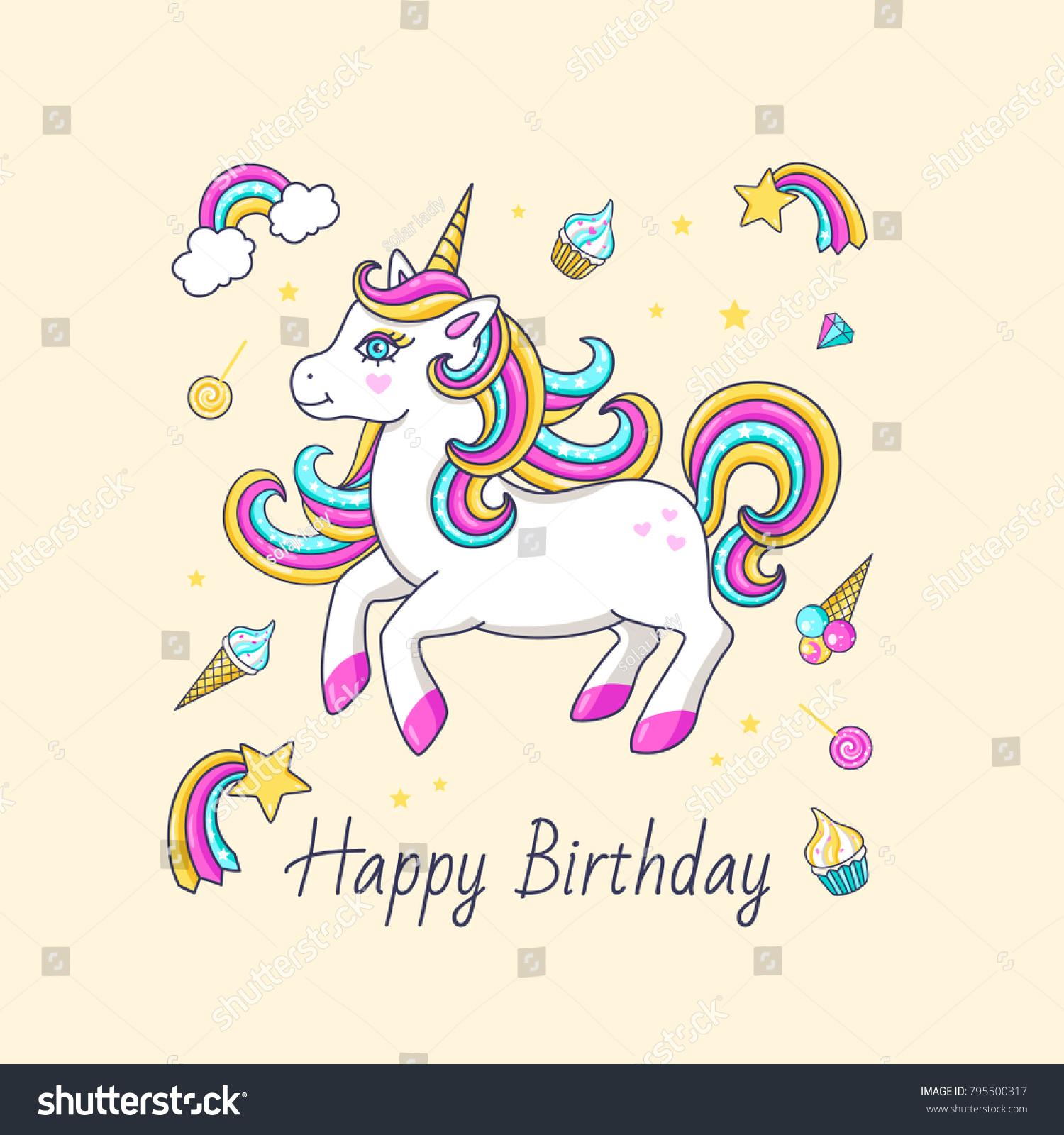Happy Birthday Card With Cute Unicorn Vector Illustration