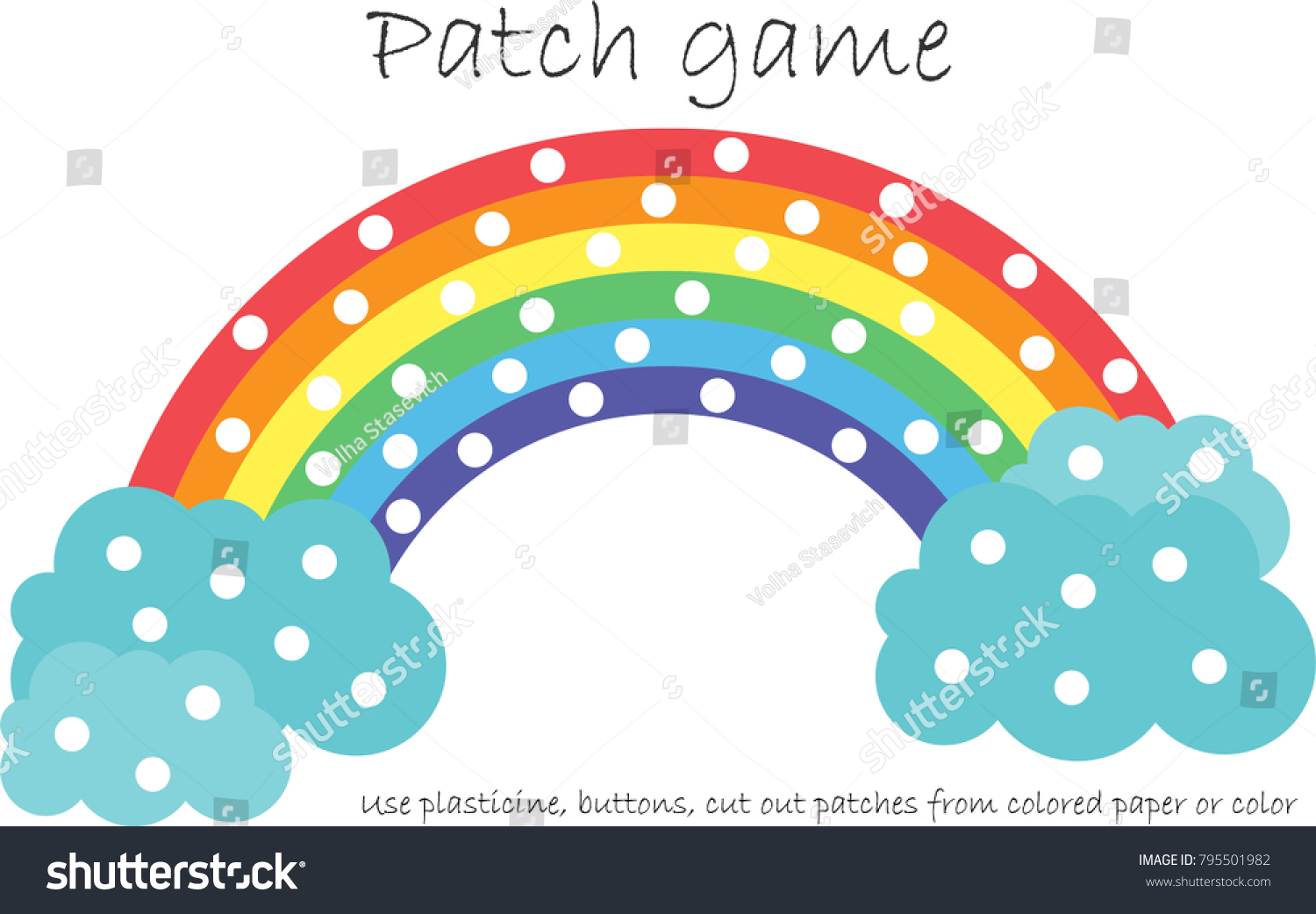 Education Patch Game Rainbow Children Develop Stock Vector (Royalty ...