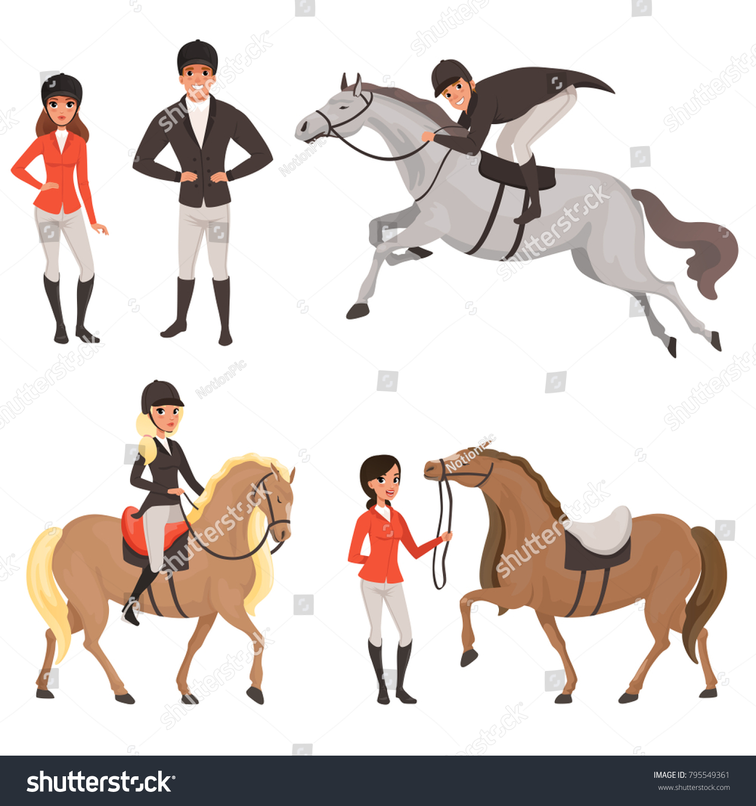 Set Of Jockeys And Horses In Different Actions Equestrian Sport Concept Cartoon People Characters