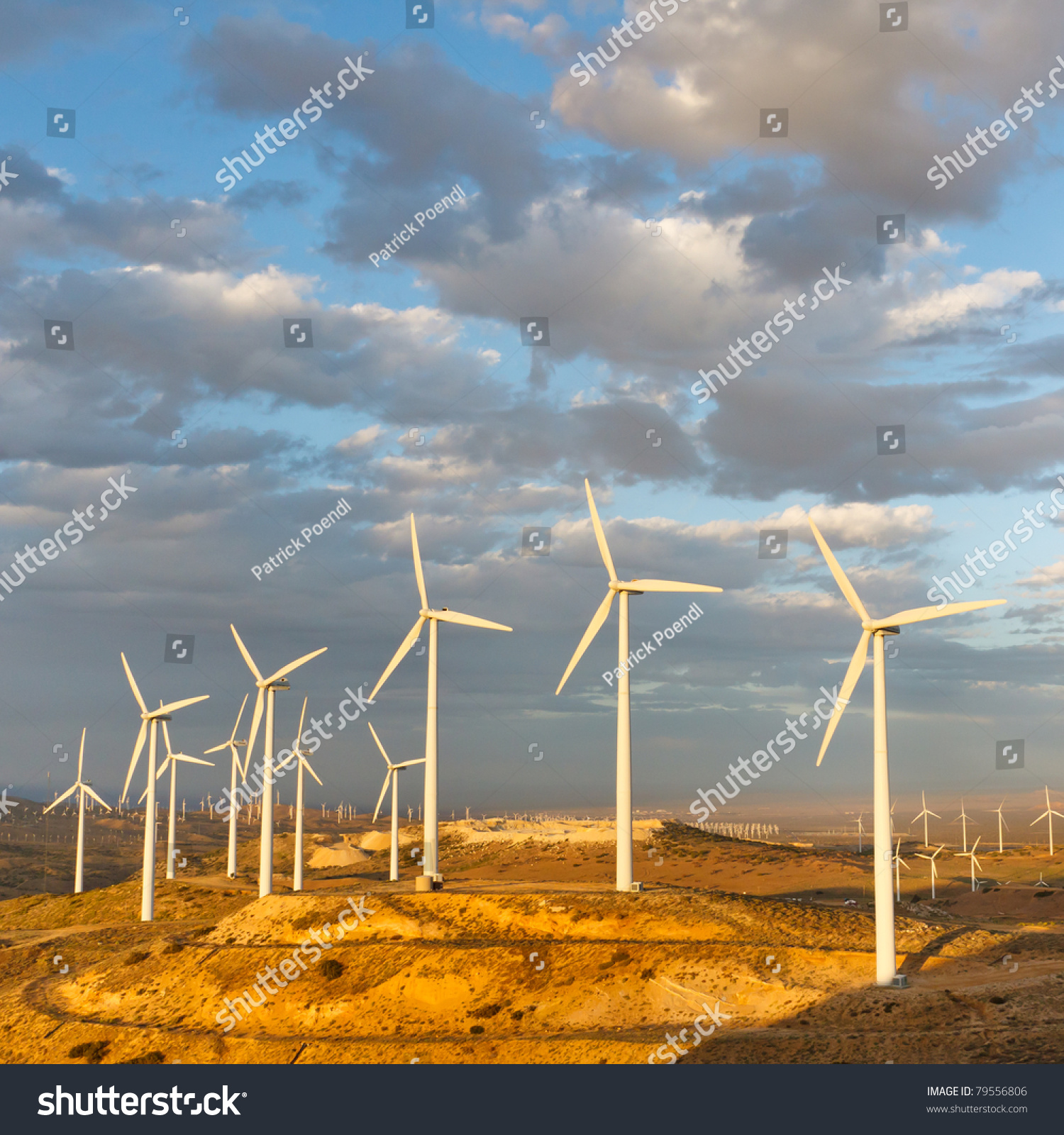 Wind Farm, California, generating clean renewable electrical energy