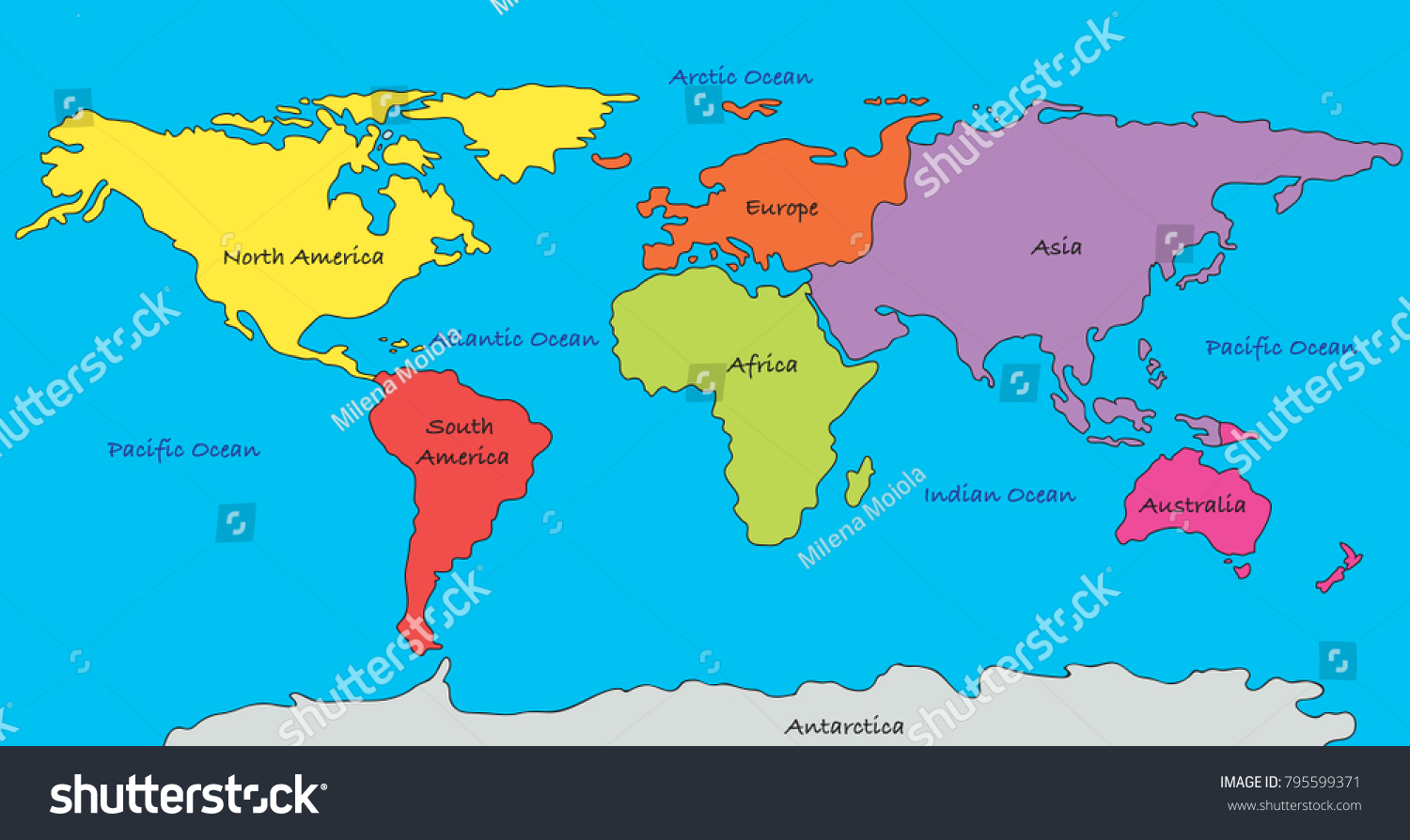 World map highlighted continents different colors ilustracin en world map with highlighted continents in different colors gumiabroncs Images