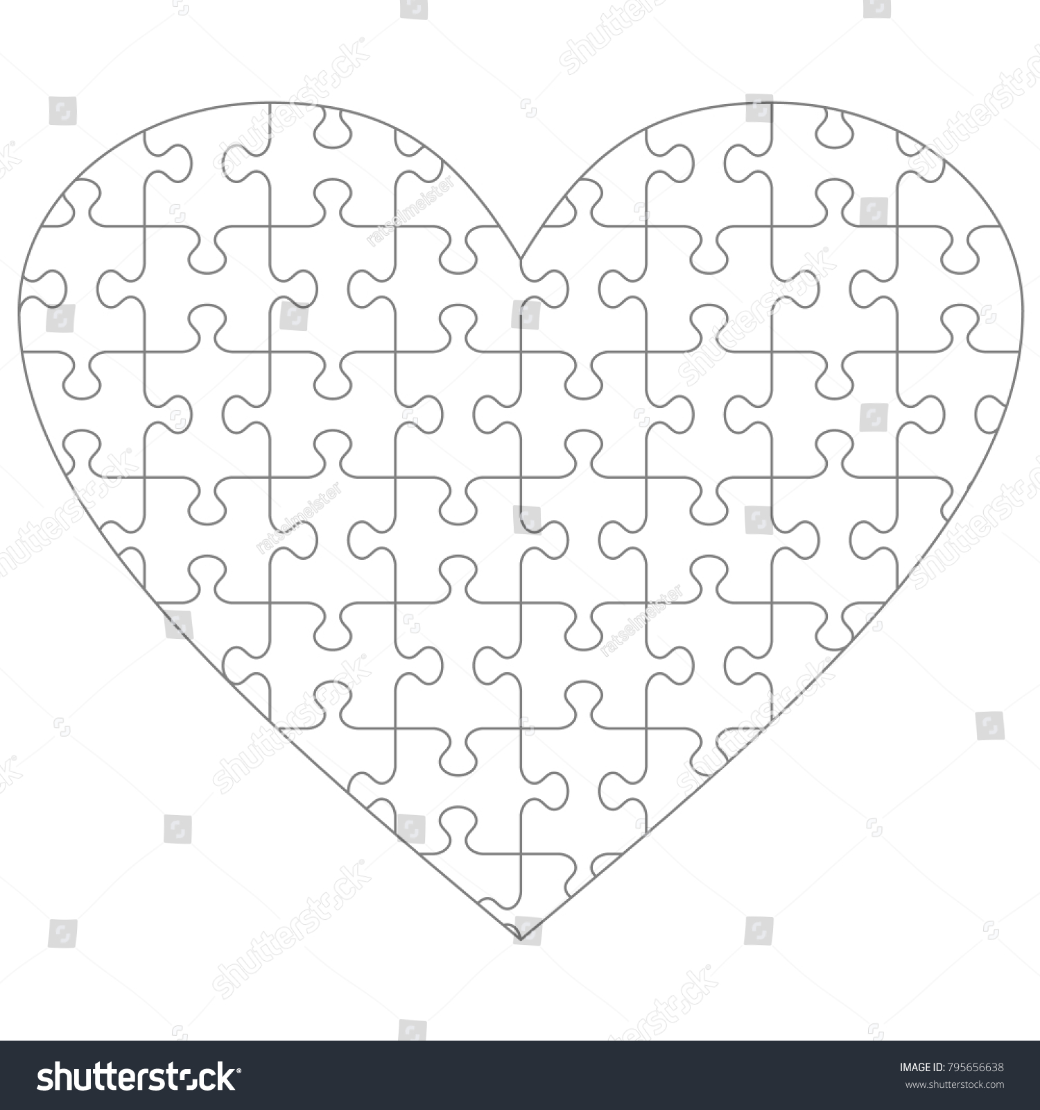 heart shaped jigsaw puzzle blank template stock illustration