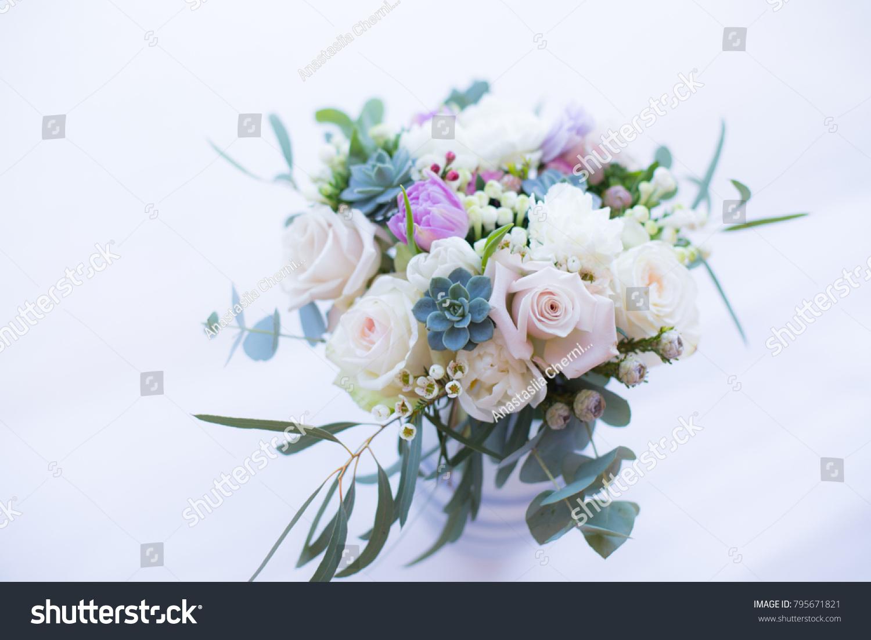 Beautiul Spring Bridal Bouquet Garden Roses Stock Photo (Edit Now ...