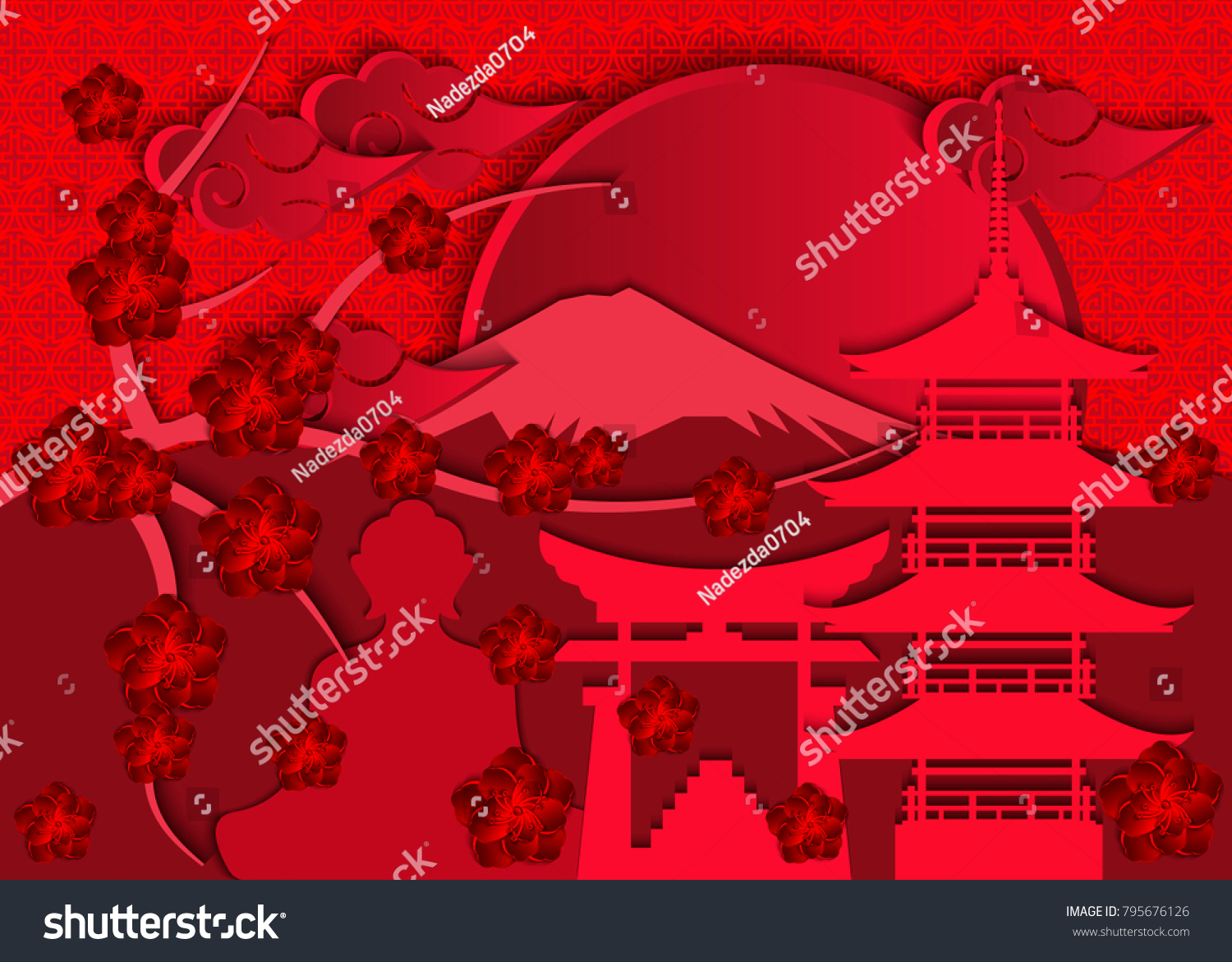 Branches Cherry Blossoms Symbols Japanese Culture Stock Vector