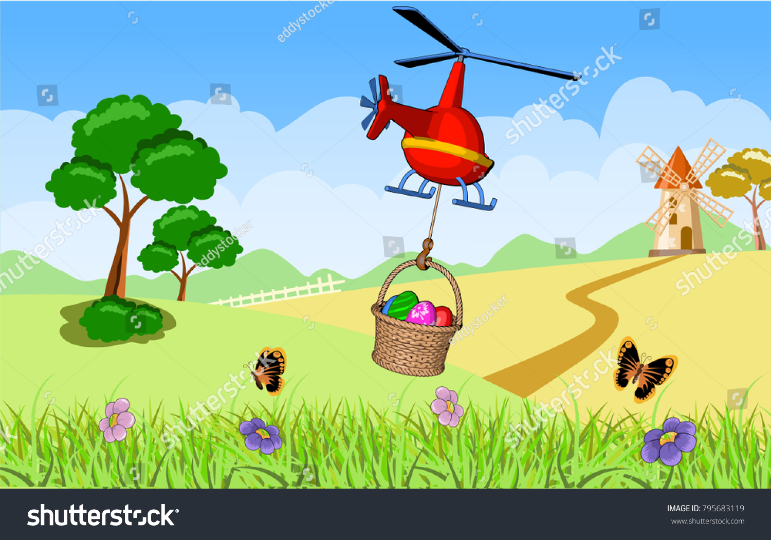 Easter Greeting Card Helicopter Basket Eggs Stock Vector Royalty