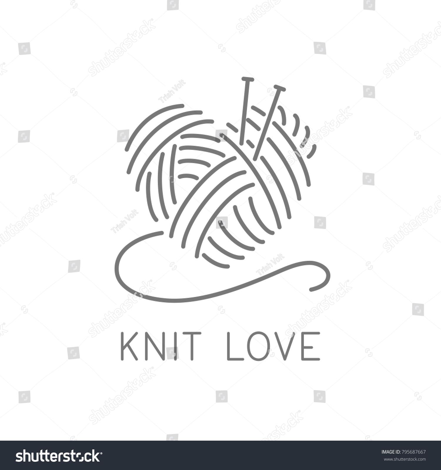 Knit Logo Concept Crochet Yarn Emblem Vector de stock (libre de ...