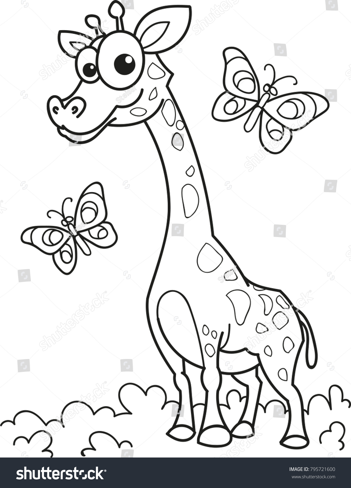 Coloring Page Outline Cartoon Smiling Giraffe Stock Vector 795721600 ...