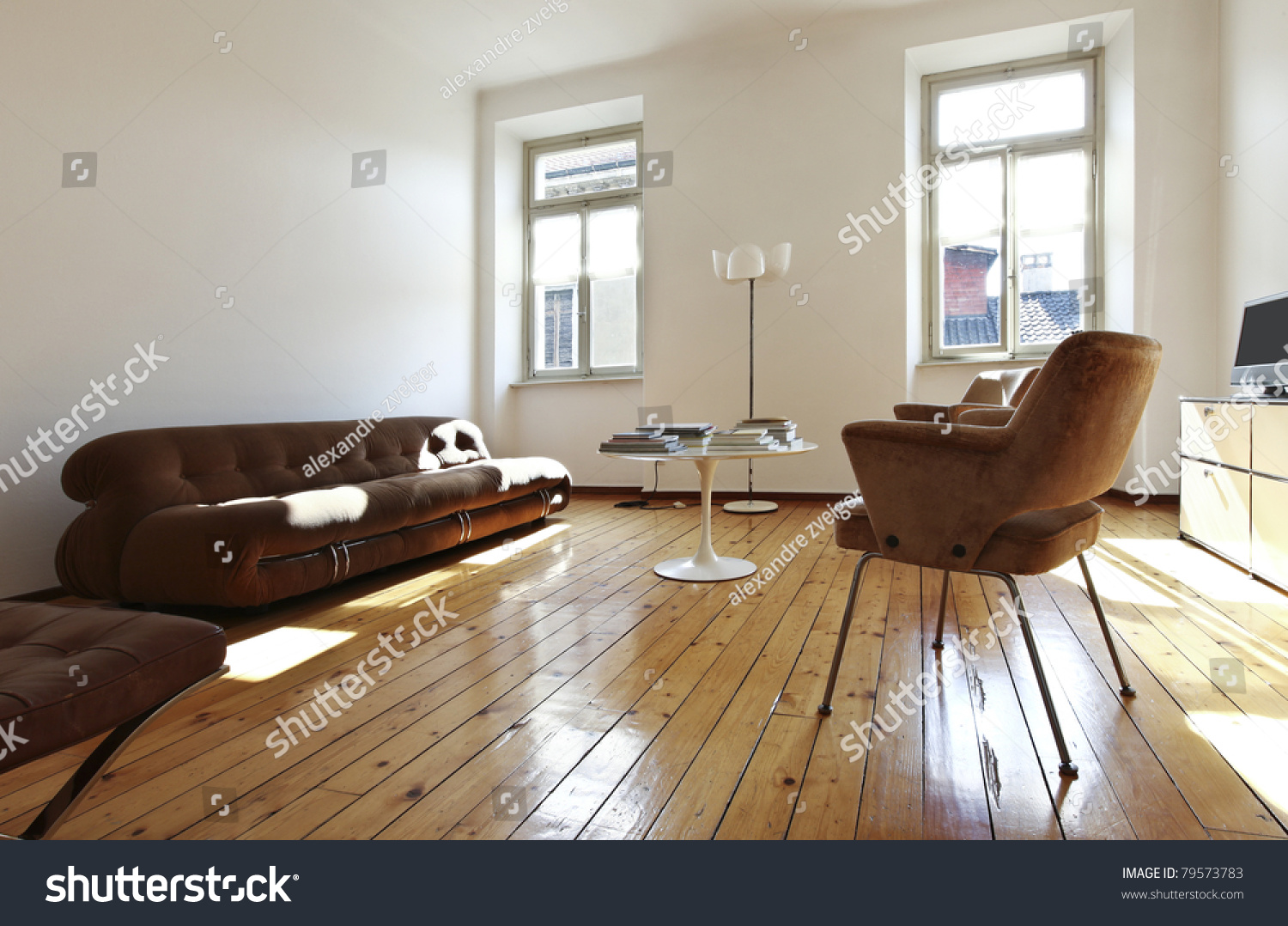 Nice Apartment Refitted Retro Style Living Room Stock