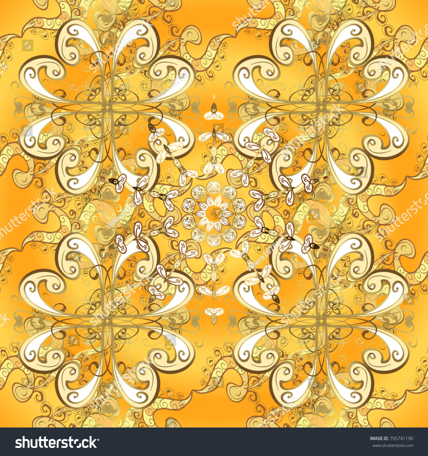Vector Pattern Background Wallpaper With Gold Antique Floral Medieval Decorative 3d Flowers Leaves And