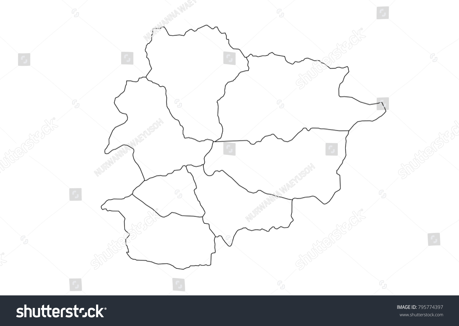 Contour Line Drawing Map : Andorra outline map detailed isolated vector stock