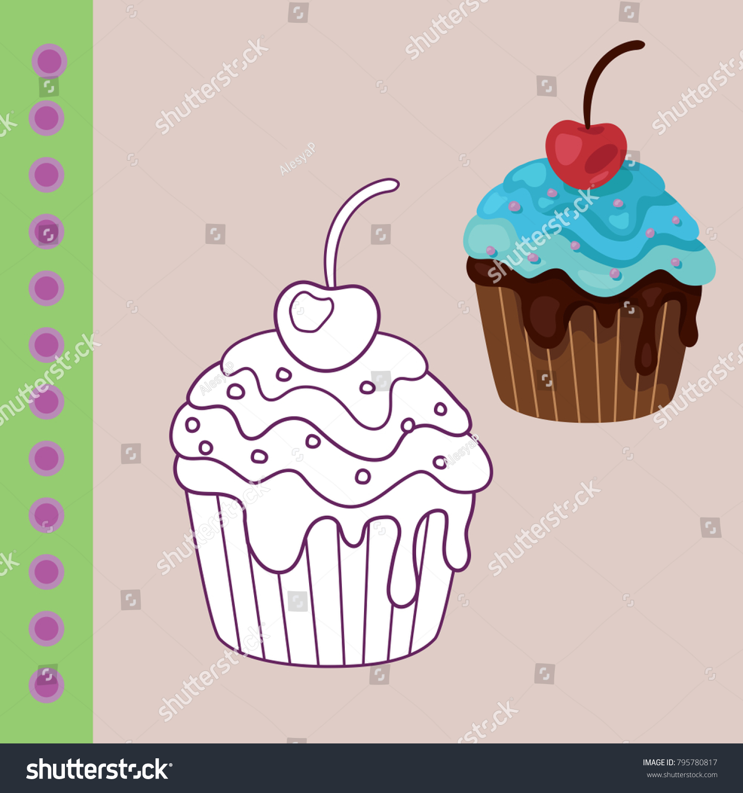 Sweets Coloring Page Children Donat Cake Cupcake Stock Vector ...