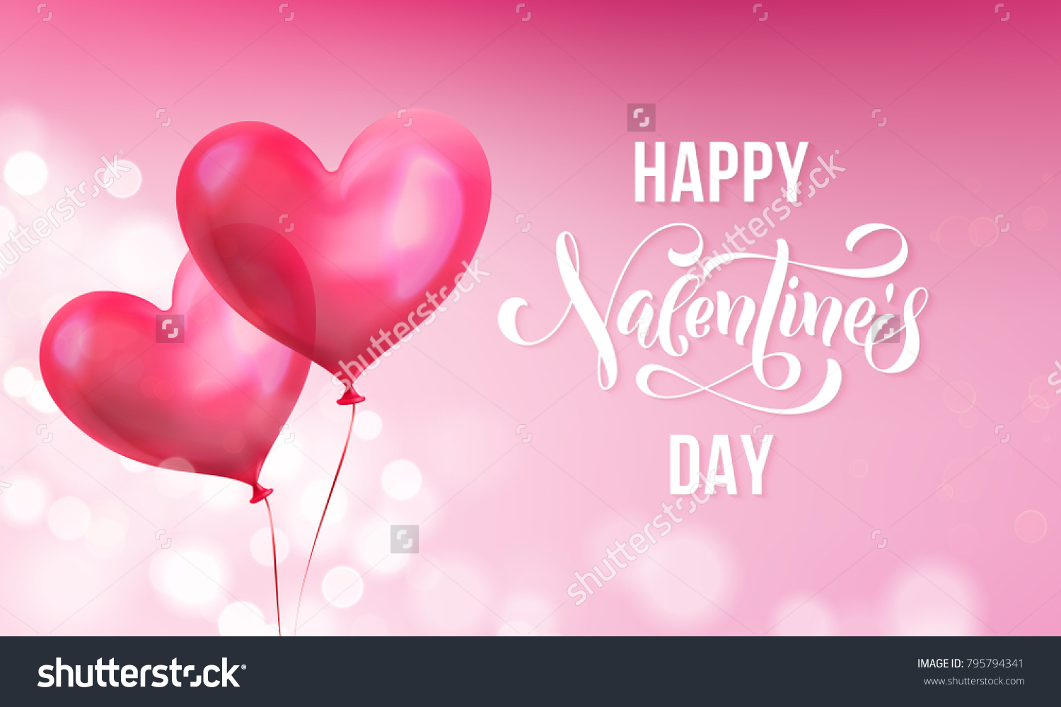 Valentines day greeting card valentine red stock vector 795794341 valentines day greeting card of valentine red heart balloon on pink light shine background vector kristyandbryce Image collections
