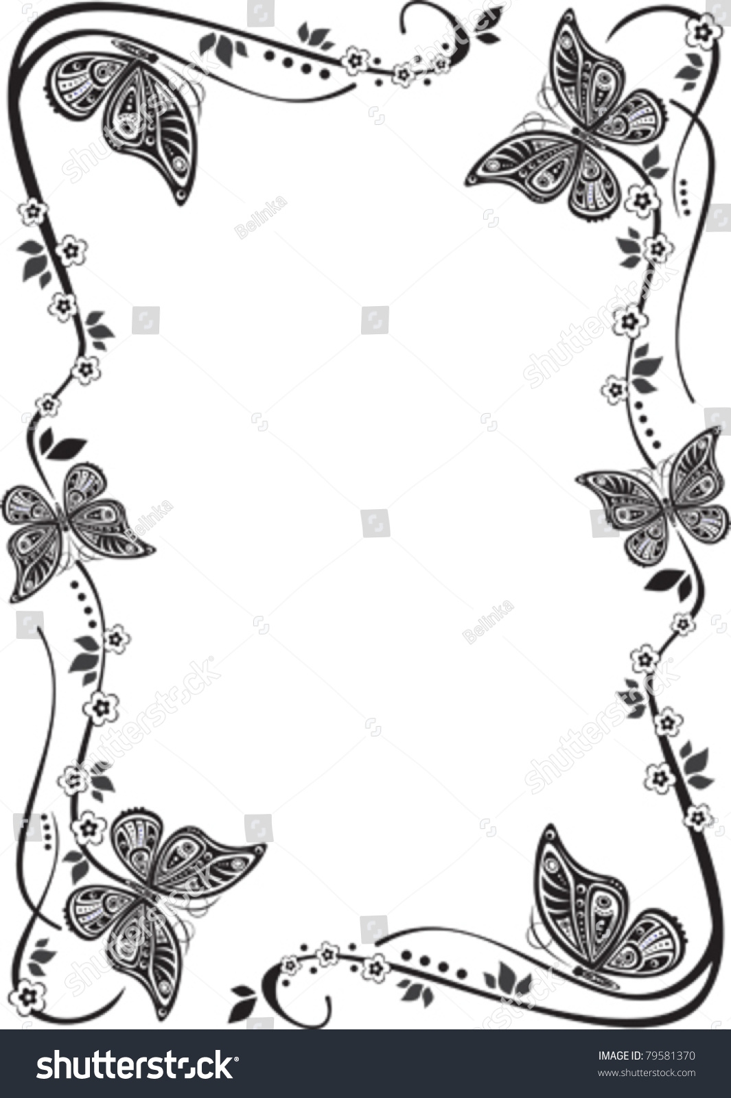 vector butterfly frame