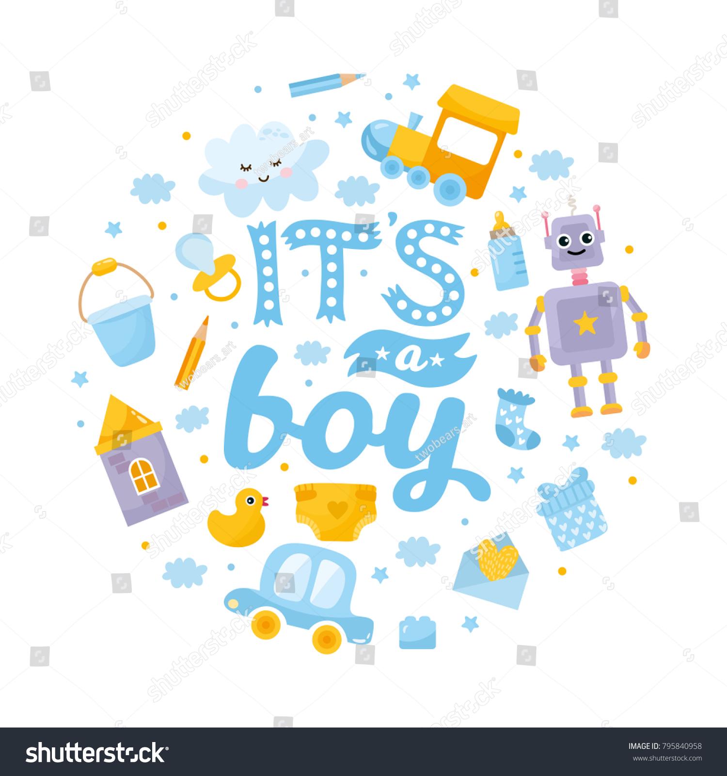 boy baby shower card baby boy stock vector royalty free 795840958