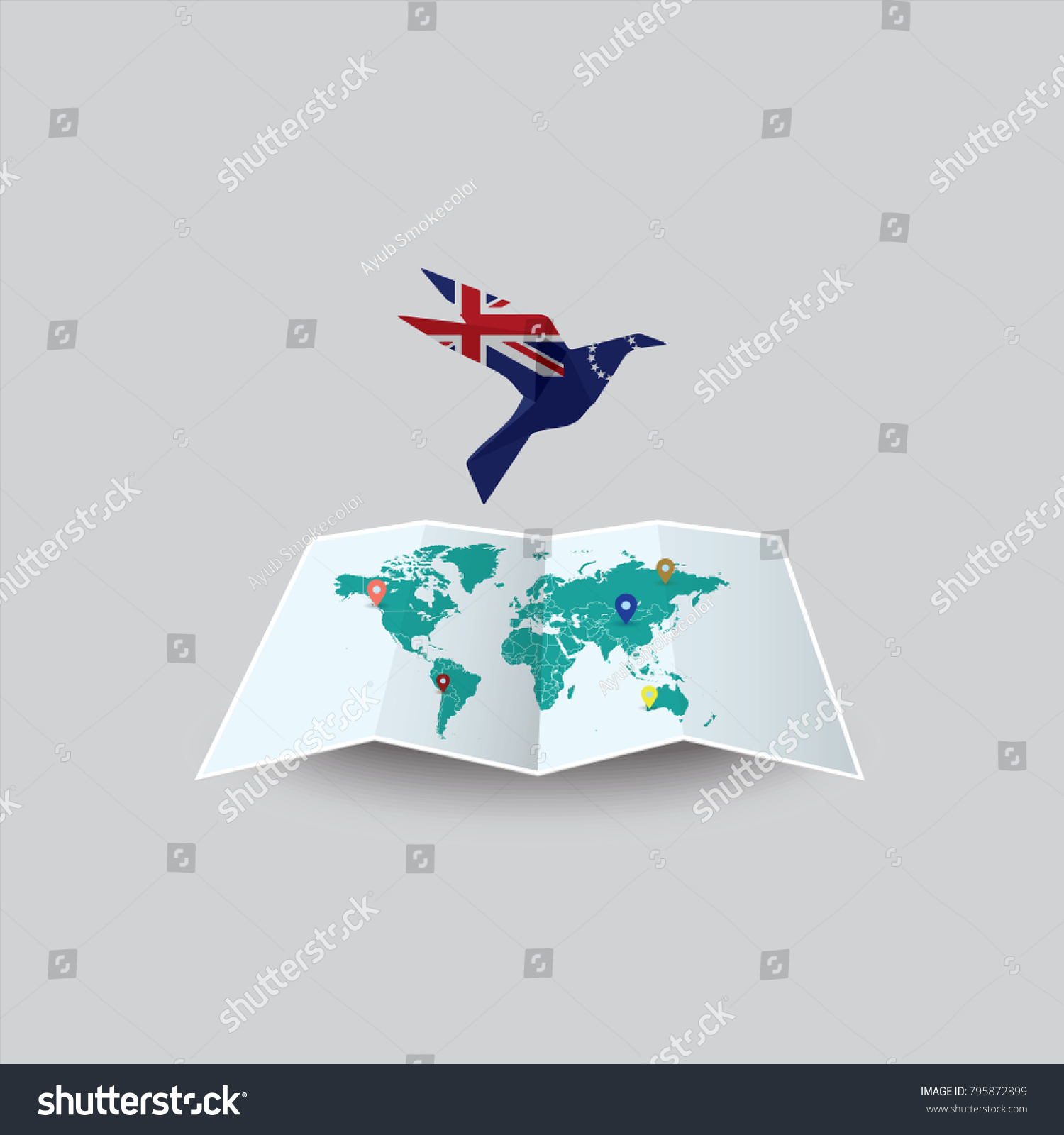 Cook Islands On World Map.Bird Peace World Cook Islands Flag Stock Vector Royalty Free